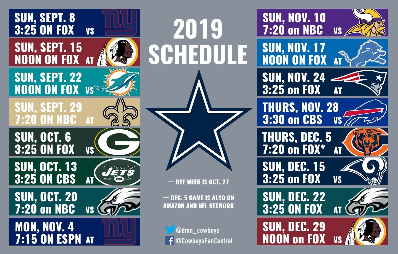 2019 Cowboys Schedule: Dallas Hosts Giants In Opener inside Nfl 2019-2020 Nfl Printable Schedule
