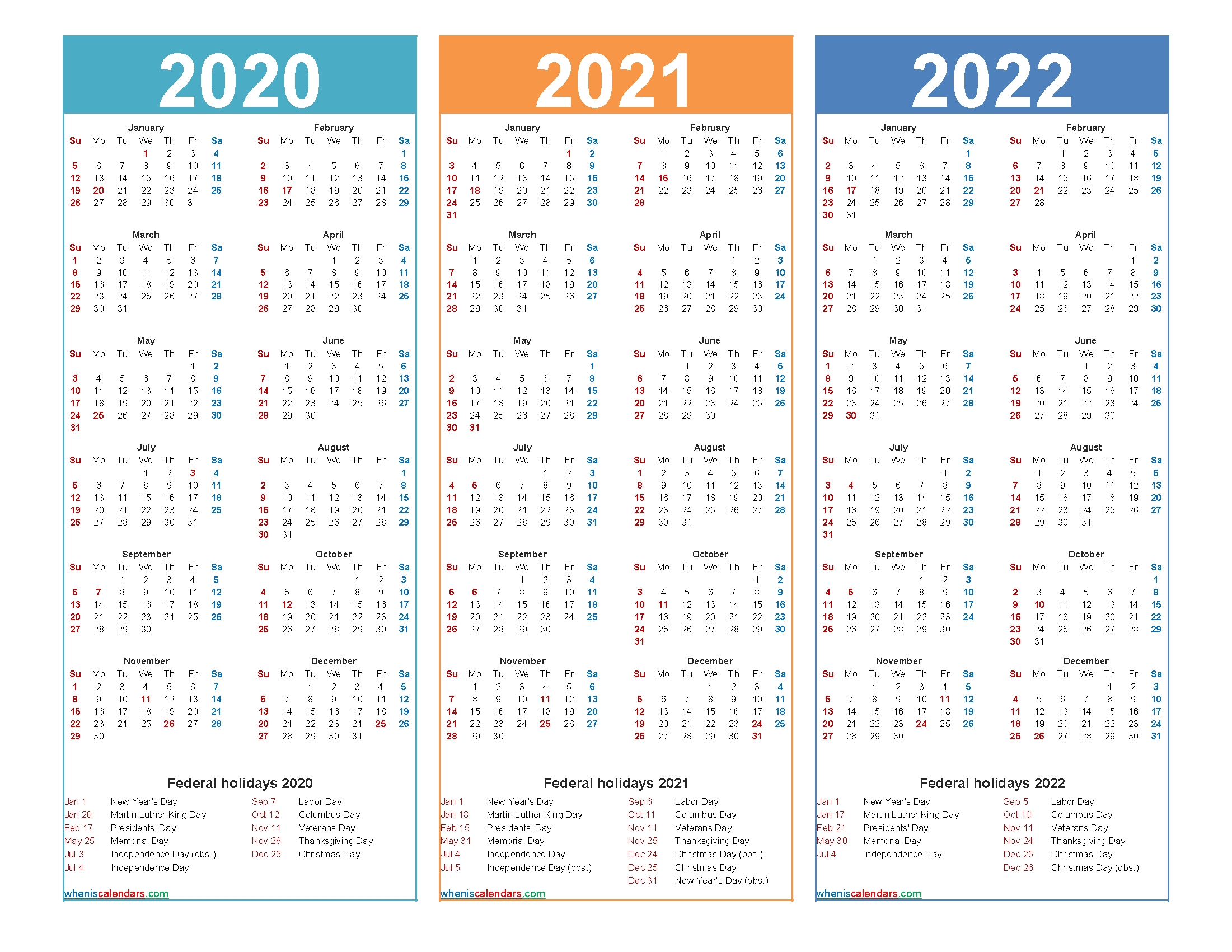 2020 2021 2022 Calendar With Holidays Printable Word | Free in Calendars In 2020 2021 And 2022