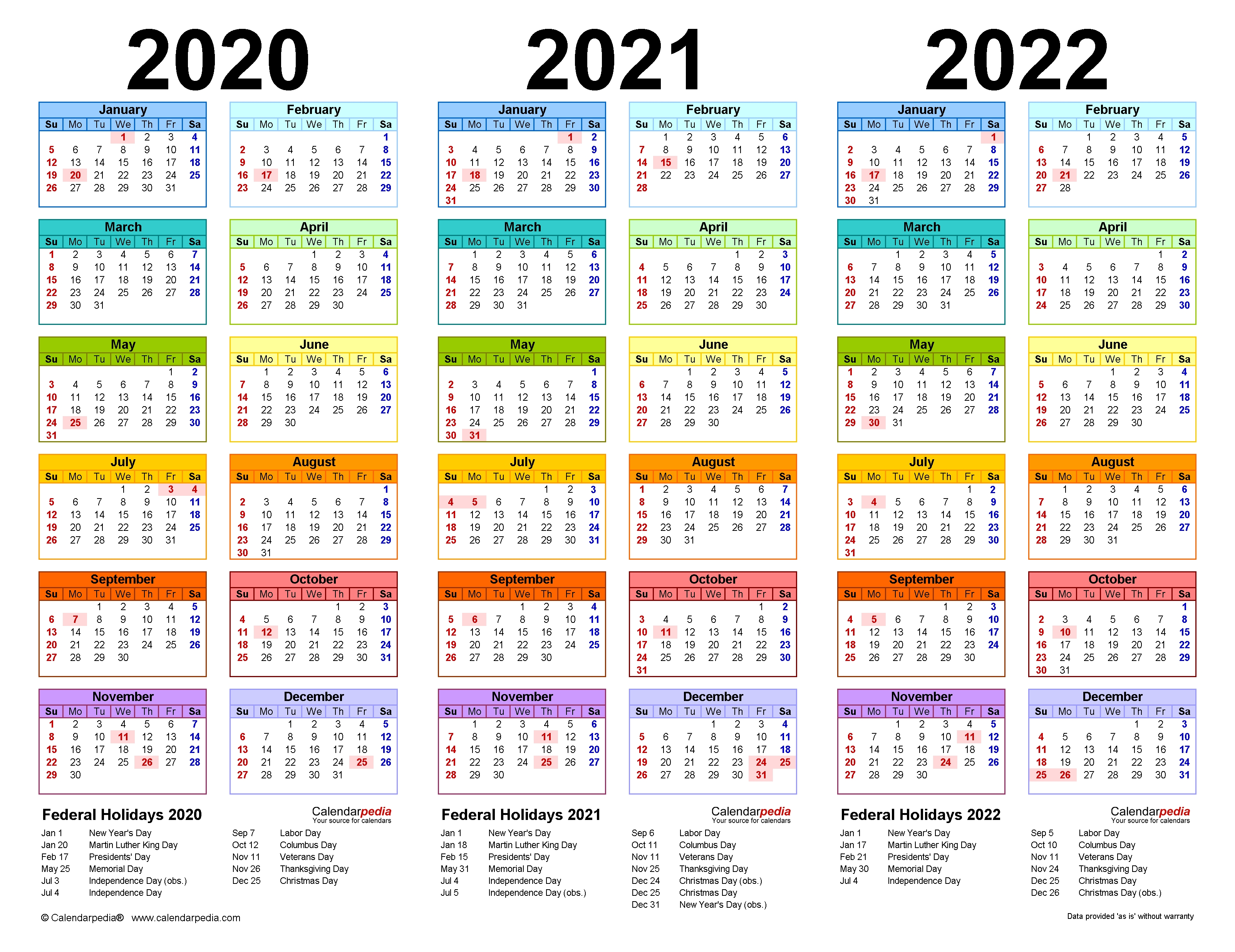 2020-2022 Three Year Calendar - Free Printable Pdf Templates with regard to Small Yearly Calendars For 2021 And 2022