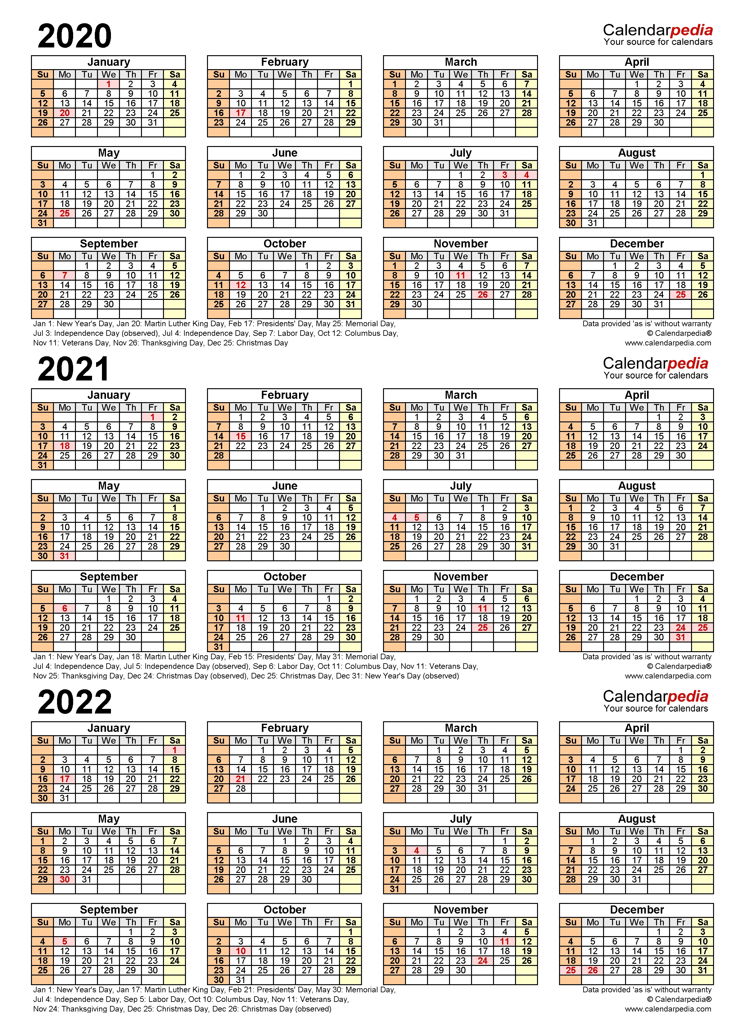 2020-2022 Three Year Calendar - Free Printable Pdf Templates with Small Yearly Calendars For 2021 And 2022