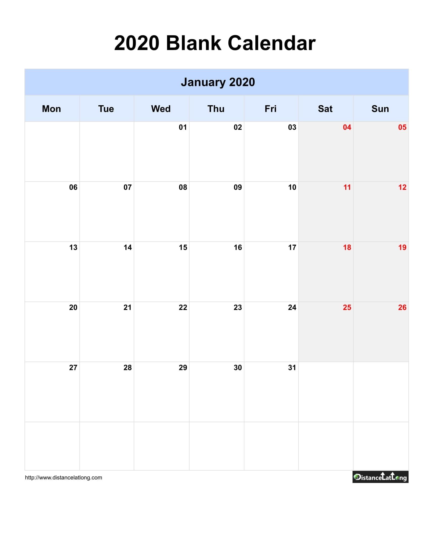 2020 Blank Calendar Blank Portrait Orientation Free in 2020 Calendar Format Monday Through Friday Week