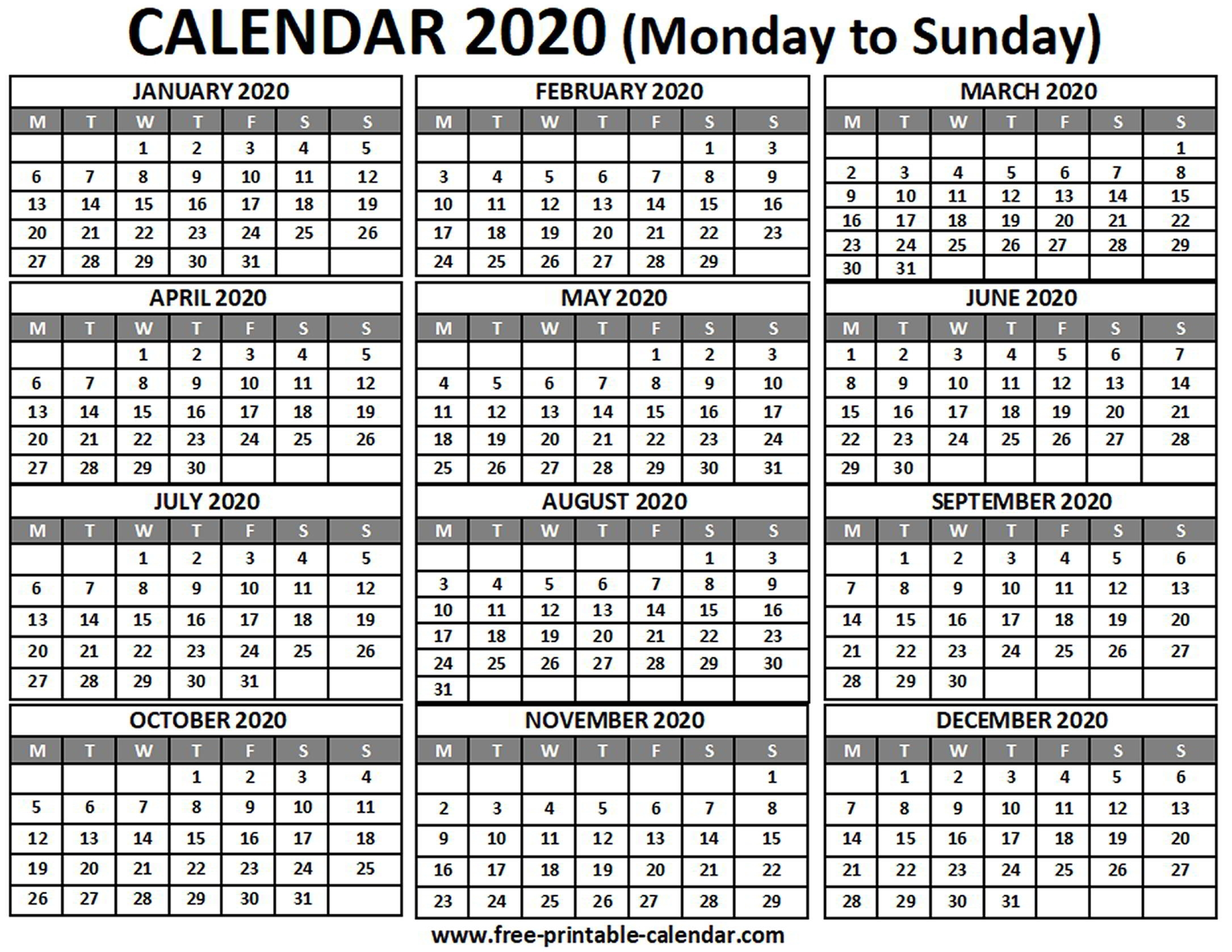 2020 Calendar - Free-Printable-Calendar inside 2020 Monday To Sunday Calendar Printable