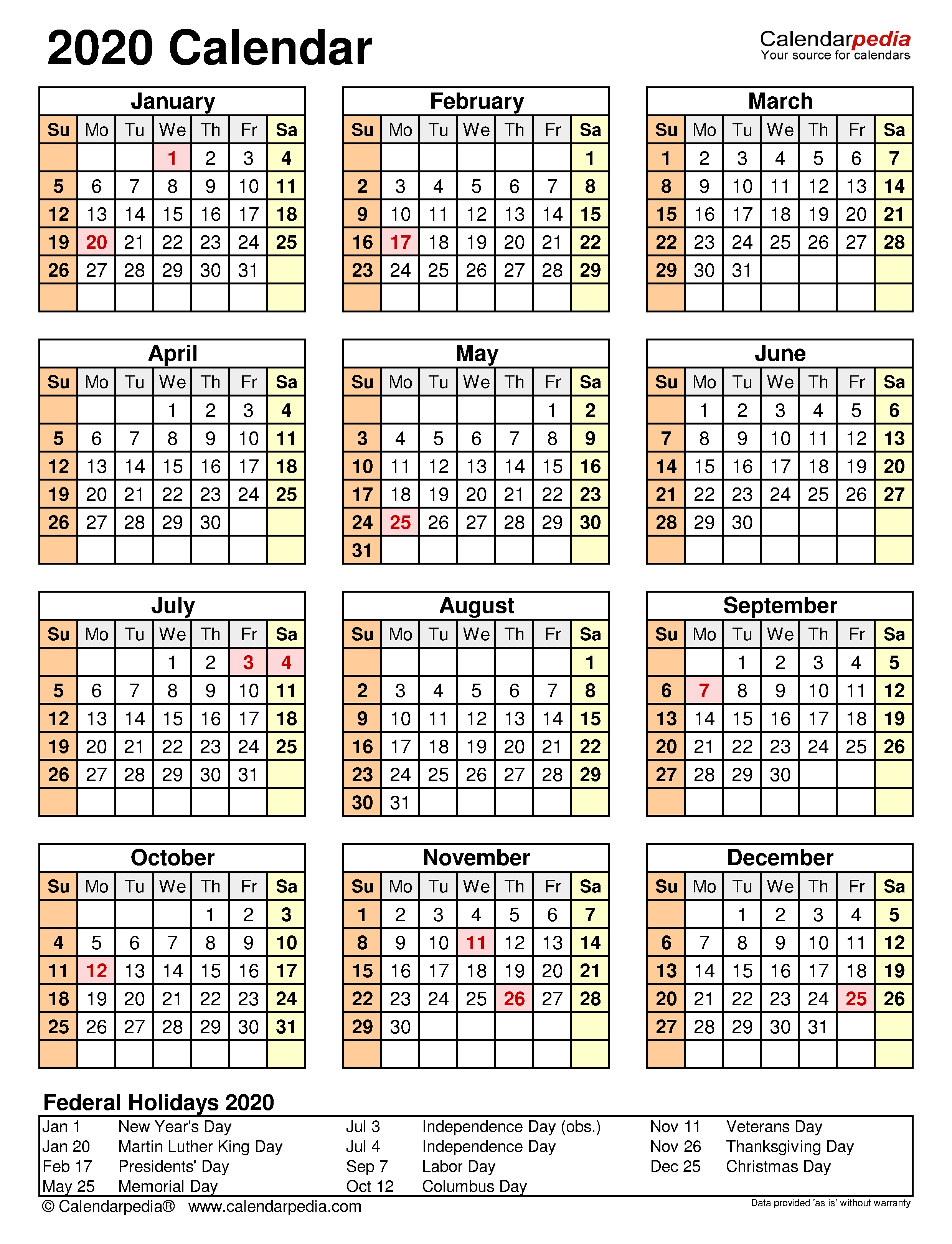 2020 Calendar - Free Printable Microsoft Excel Templates for Free 2020 Employee Attendance Calendar