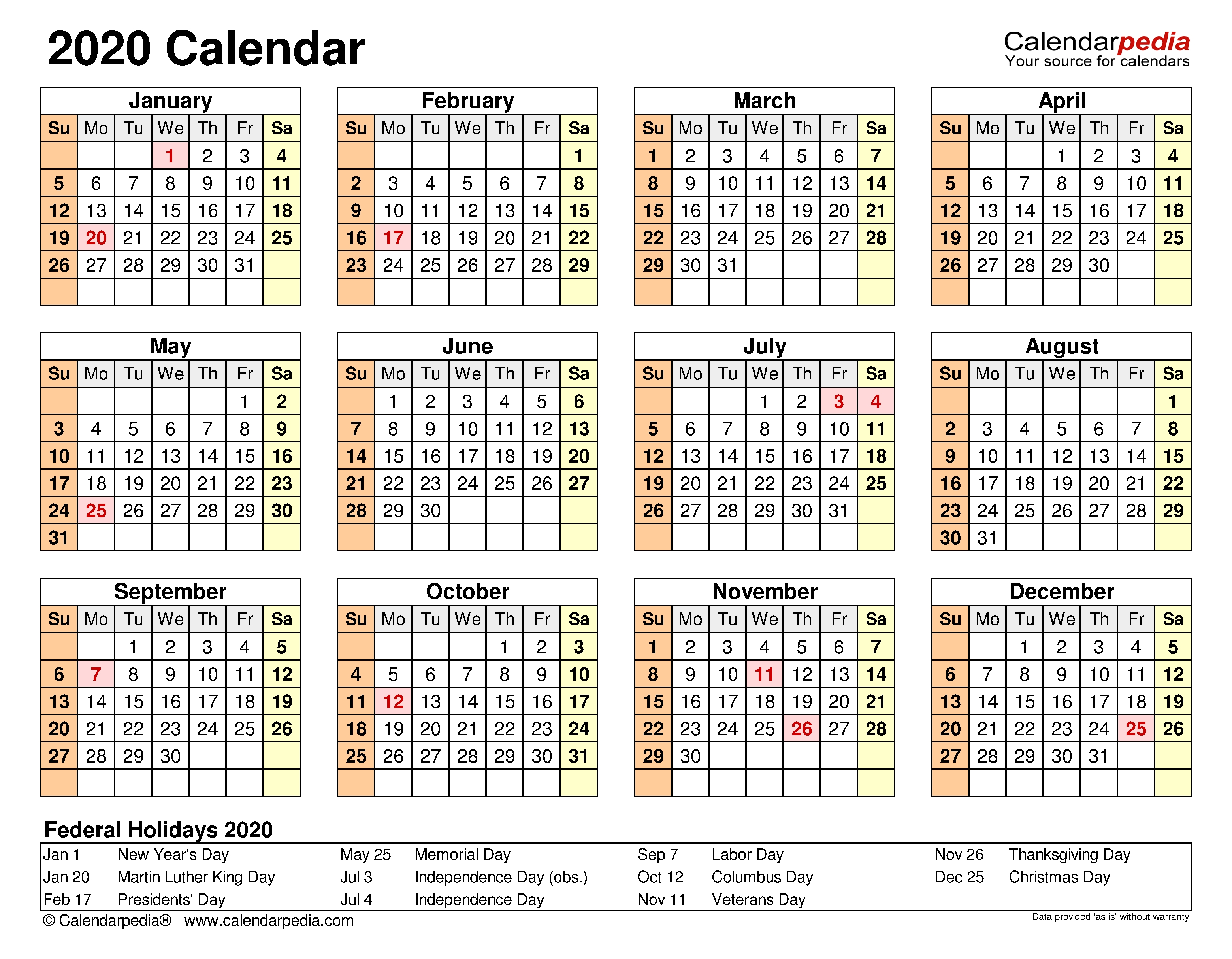 2020 Calendar - Free Printable Microsoft Excel Templates with regard to Printable Template For Blank 2020 Year At A Glance Calendar