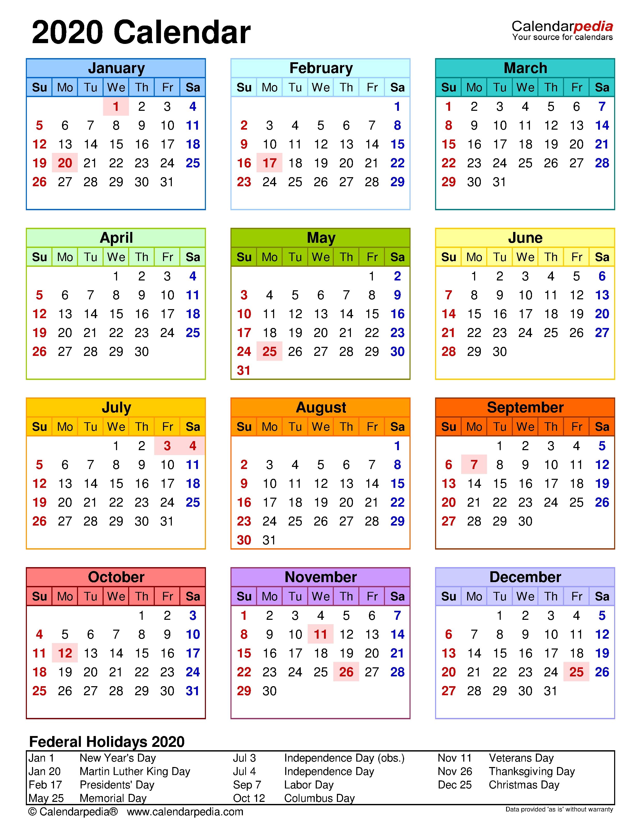 2020 Calendar - Free Printable Templates in Year At A Glance Printable Calendar 2020
