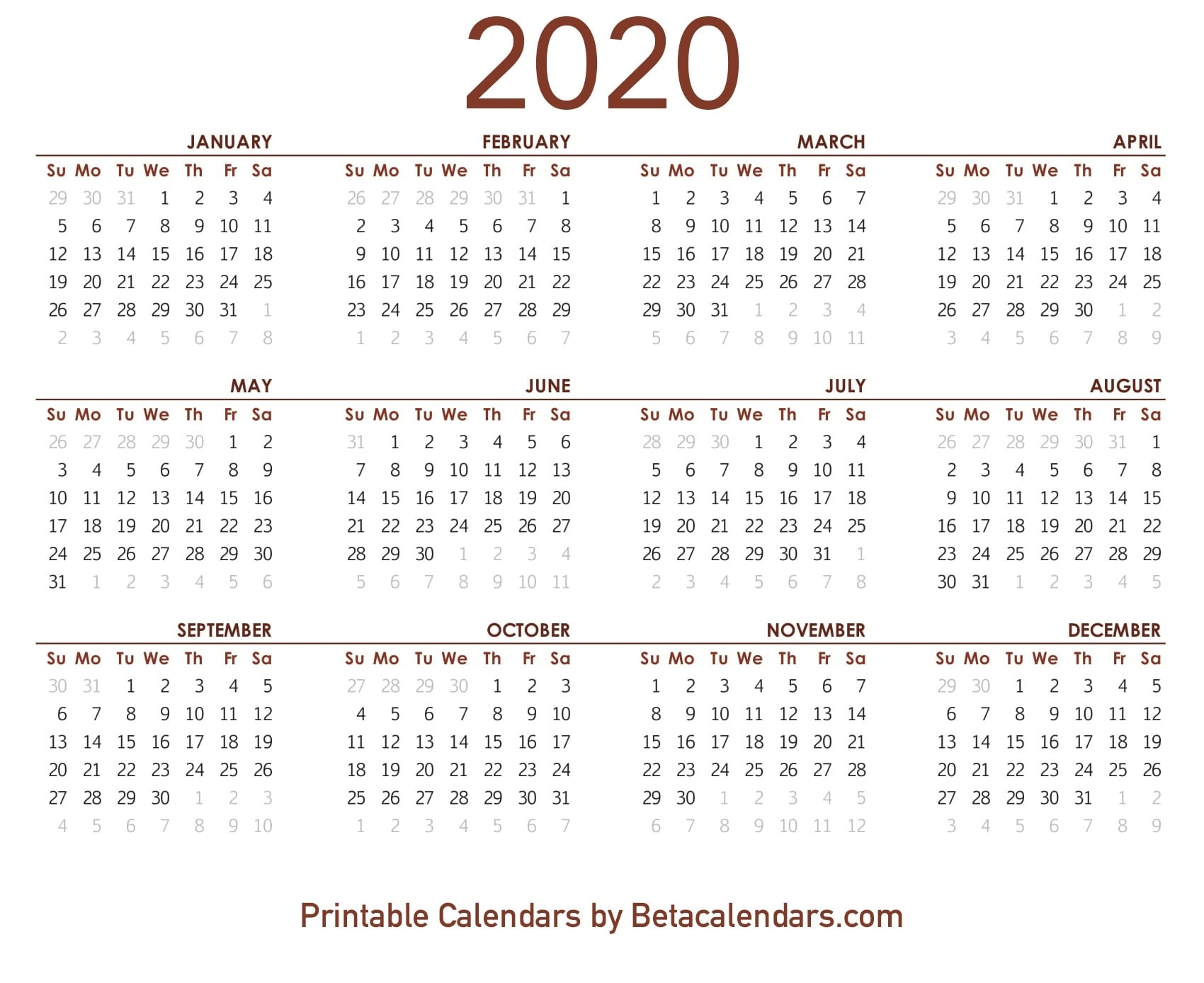 2020 Calendar - Free Printable Yearly Calendar 2020 intended for Free Printable 2020 Calendars You Don't Have To Download