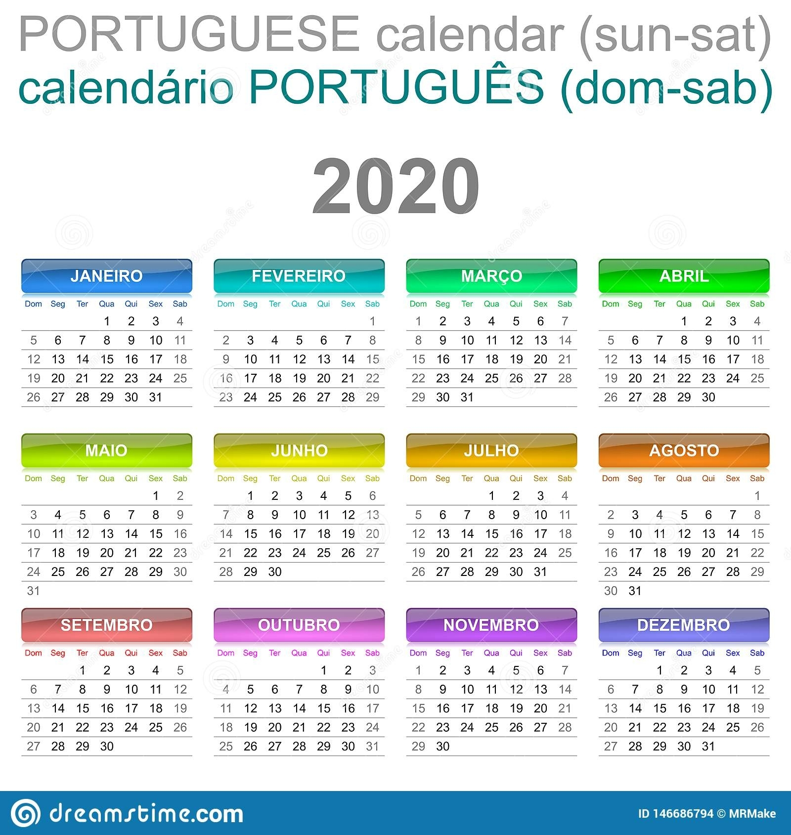 2020 Calendar Portuguese Language Sunday To Saturday Stock in Calendar Sunday To Saturday 2020