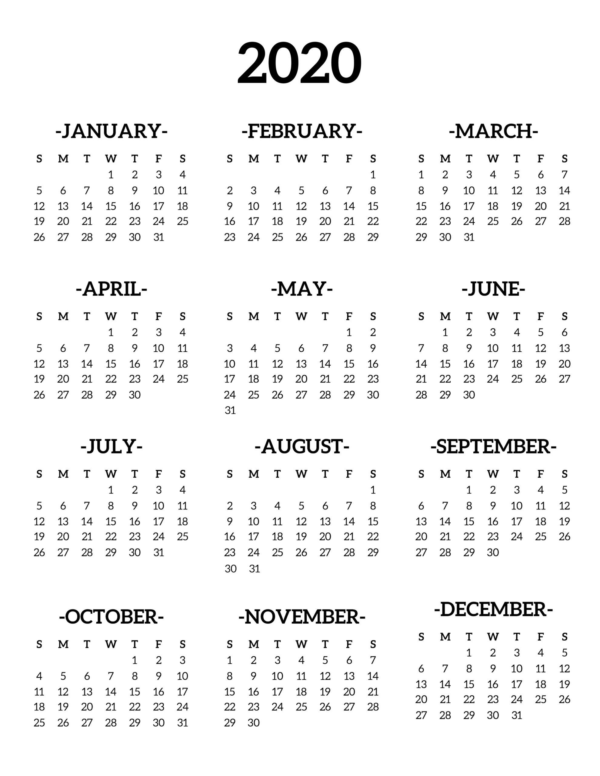 2020 Calendar Printable One Page | Calendario, Bullet intended for Free Printable Year At A Glance 2020 Calendar