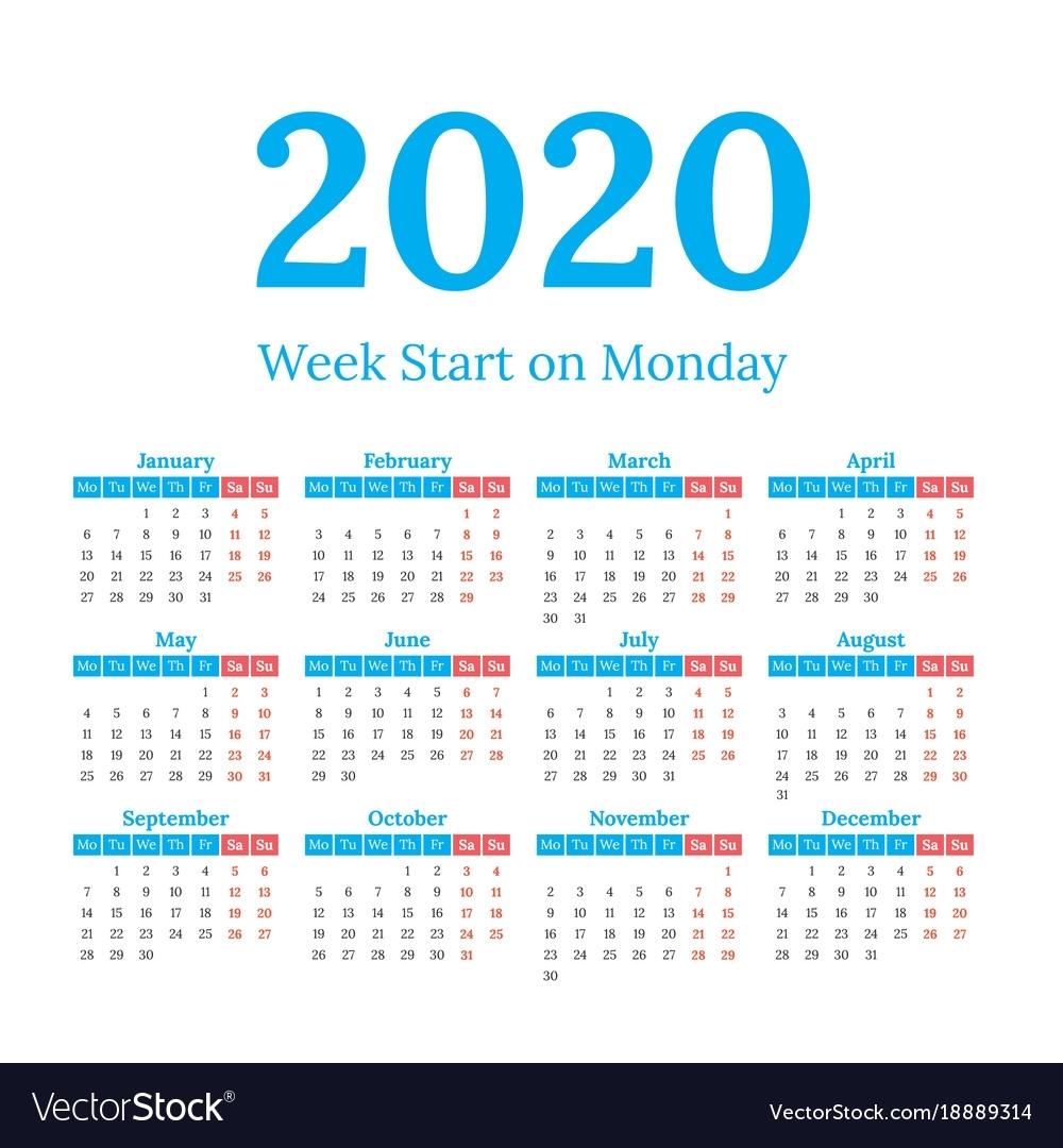 2020 Calendar Start On Monday throughout 2020 Calendar With Monday Start Week