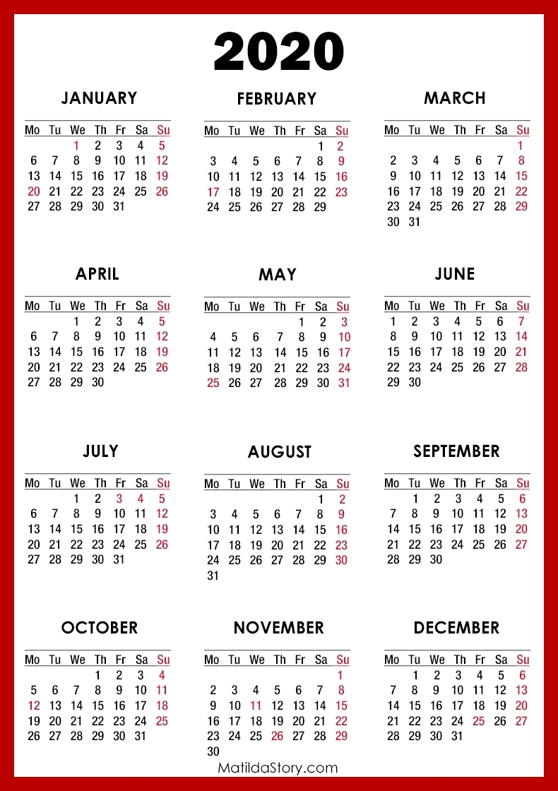 2020 Calendar With Holidays, Printable Free, Red – Monday in Free 2020 Calendar Monday Start