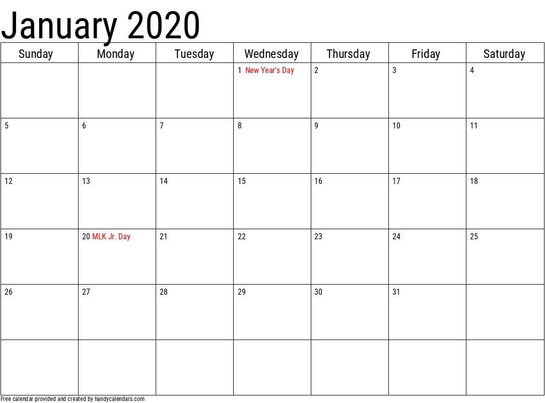 2020 January Calendars - Handy Calendars throughout Calendar Sunday To Saturday 2020
