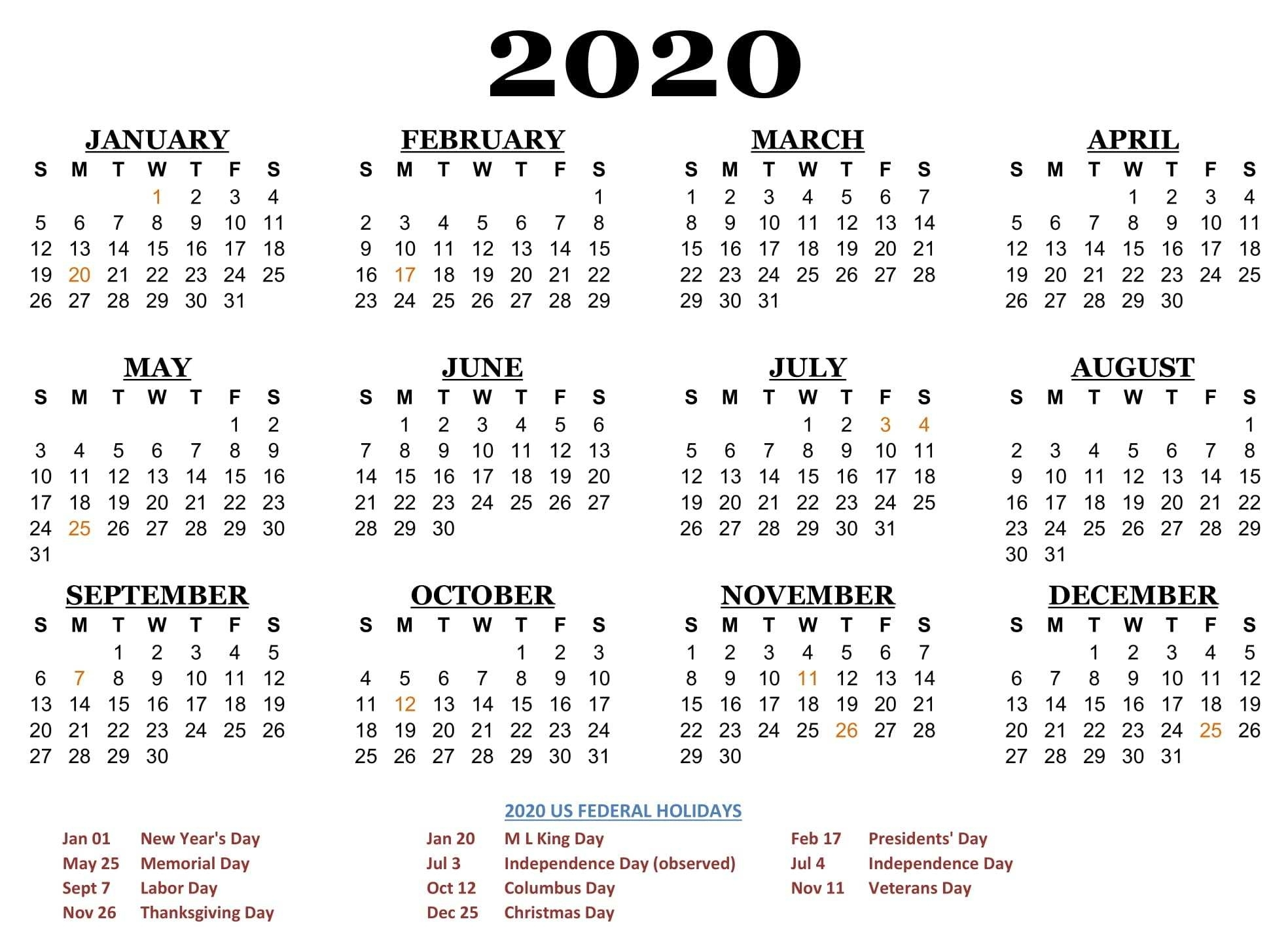 2020 One Page Calendar Printable Download | Calendarbuzz throughout 2020 Calendar Year To A Page