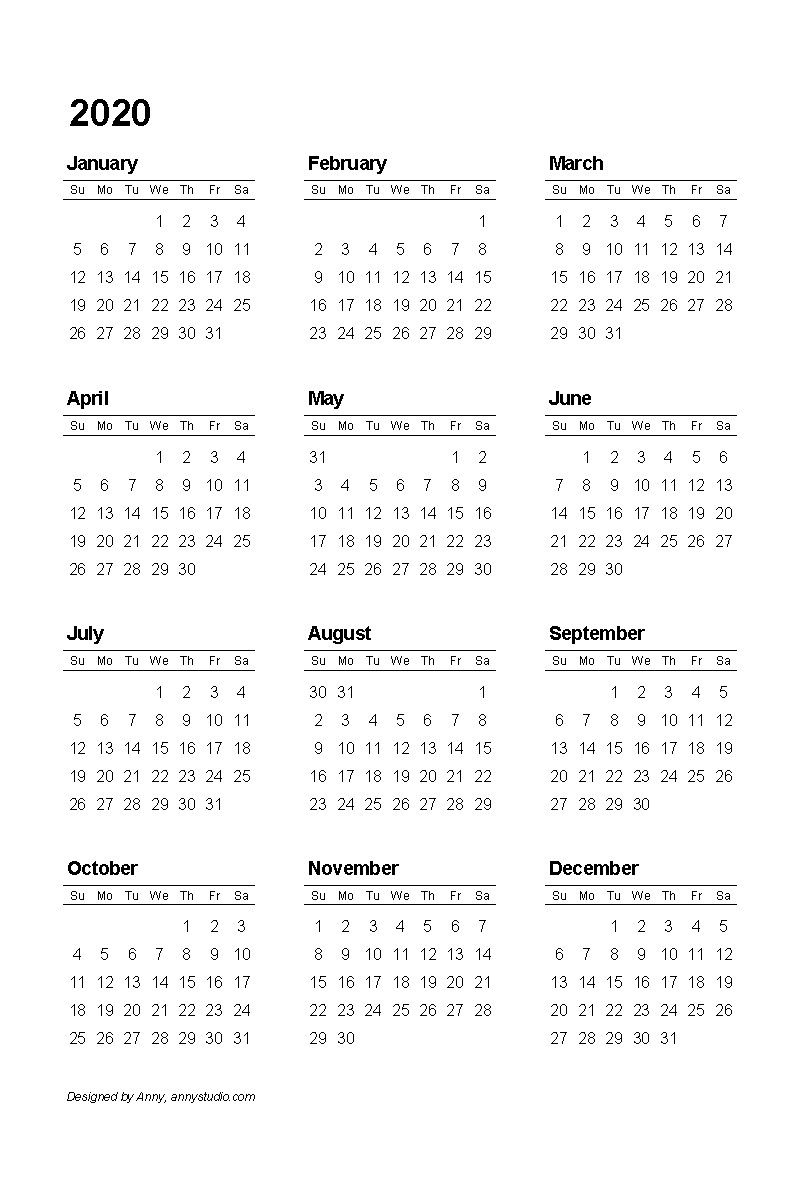2020 Pdf Printable Calendar | Printable Calendar Template inside Printable Template For Blank 2020 Year At A Glance Calendar