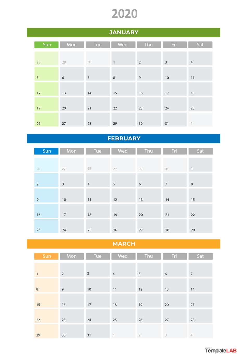 2020 Printable Calendars [Monthly, With Holidays, Yearly] ᐅ for 2020 Printable Quarterly Calendar Template