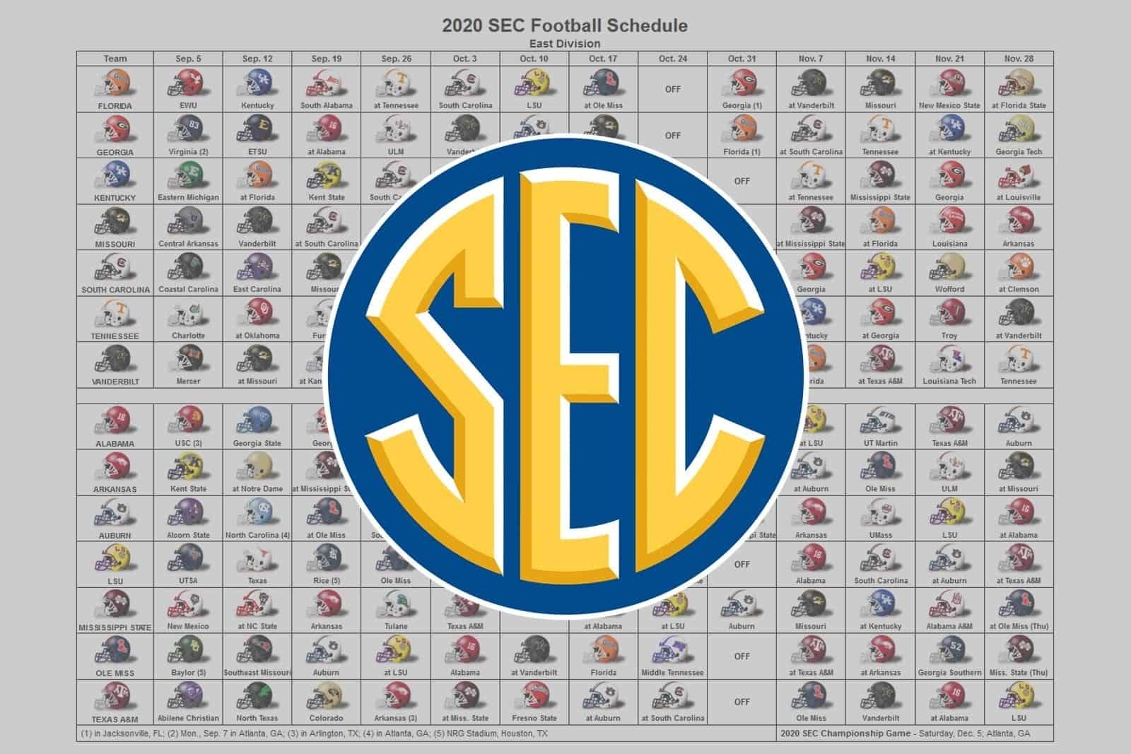 2020 Sec Football Helmet Schedule regarding Printable Nfl Schedule 2019 2020