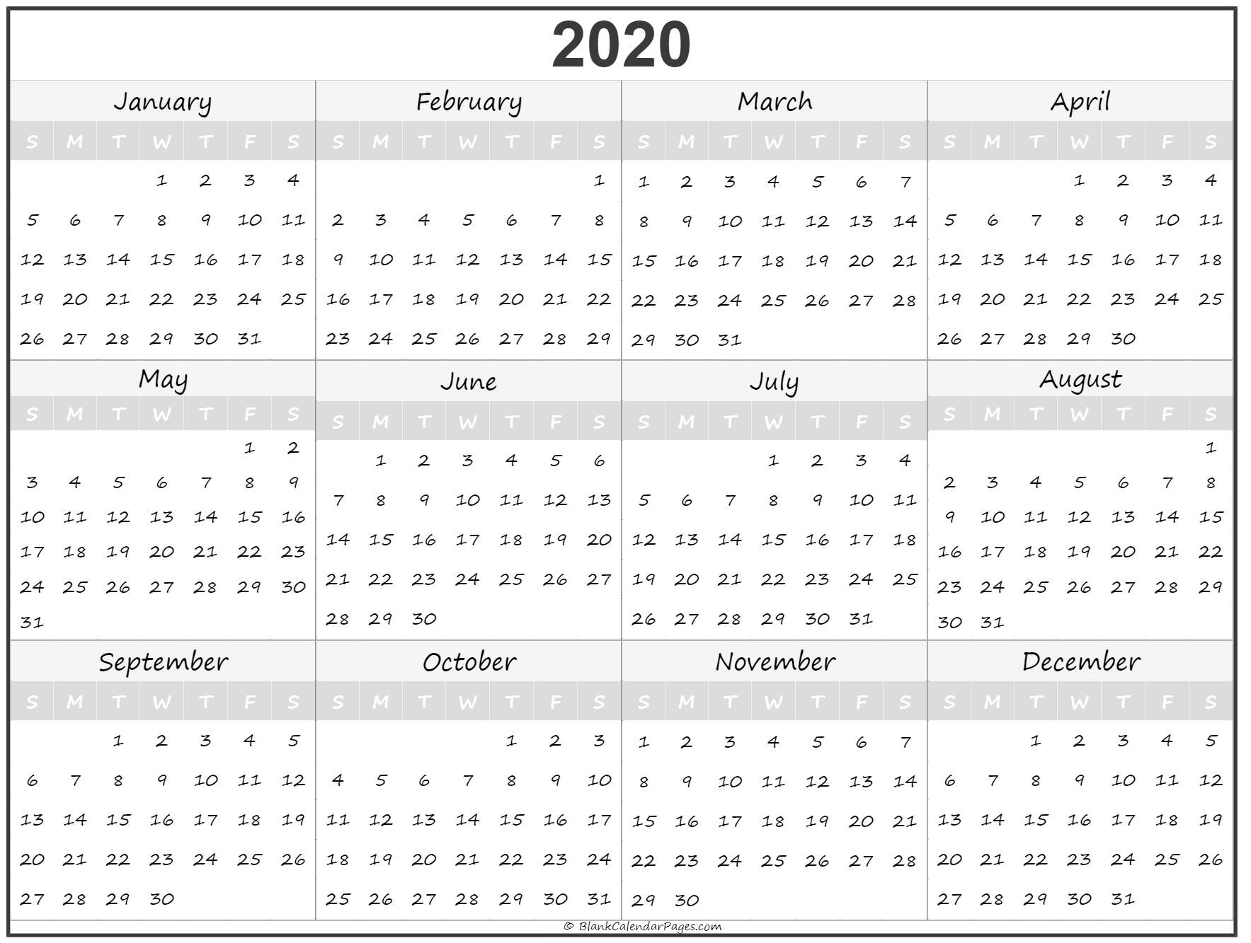 2020 Year Calendar | Yearly Printable within 2020 Calendar Year To A Page