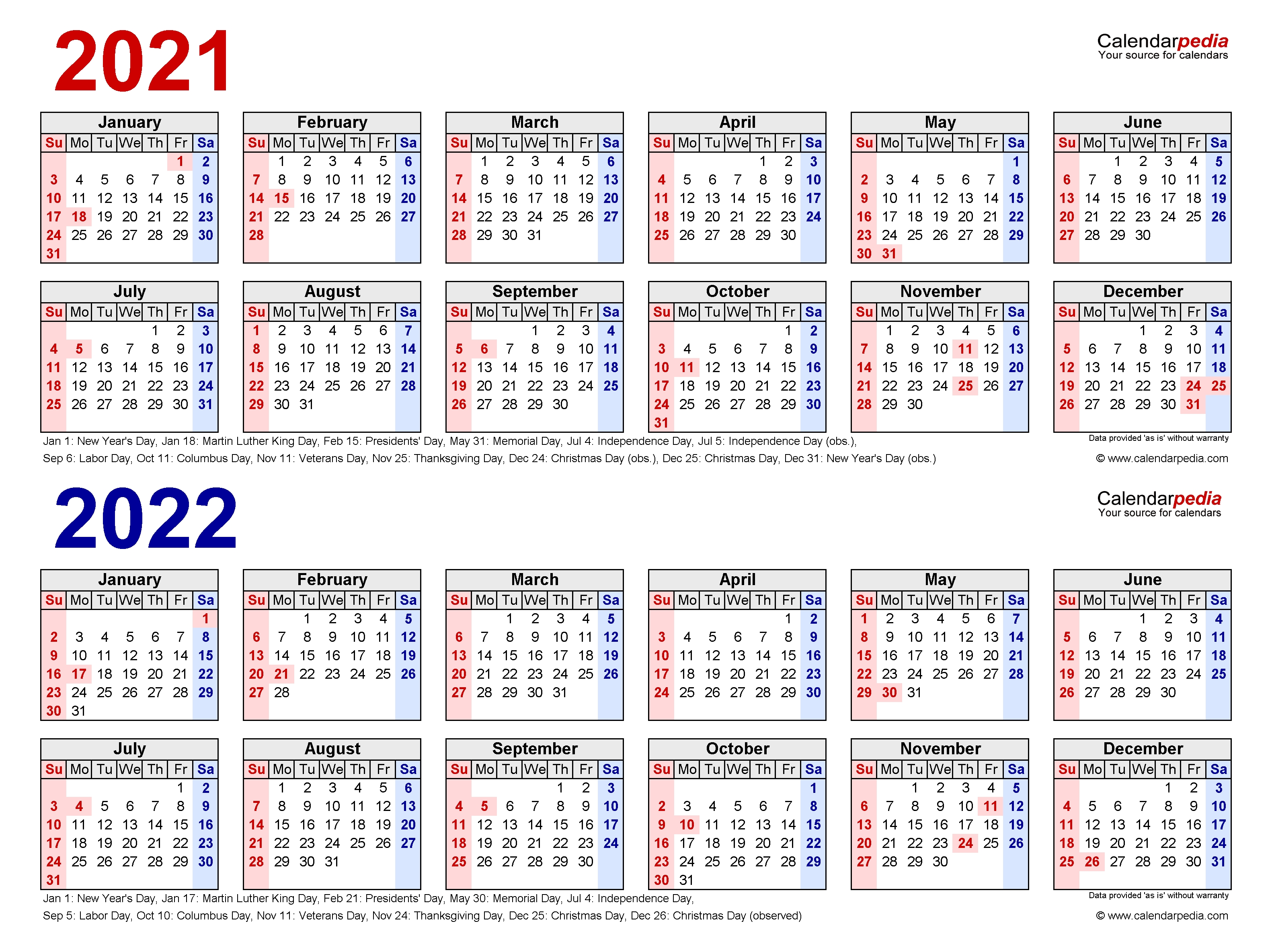 2021-2022 Two Year Calendar - Free Printable Pdf Templates intended for Small Yearly Calendars For 2021 And 2022