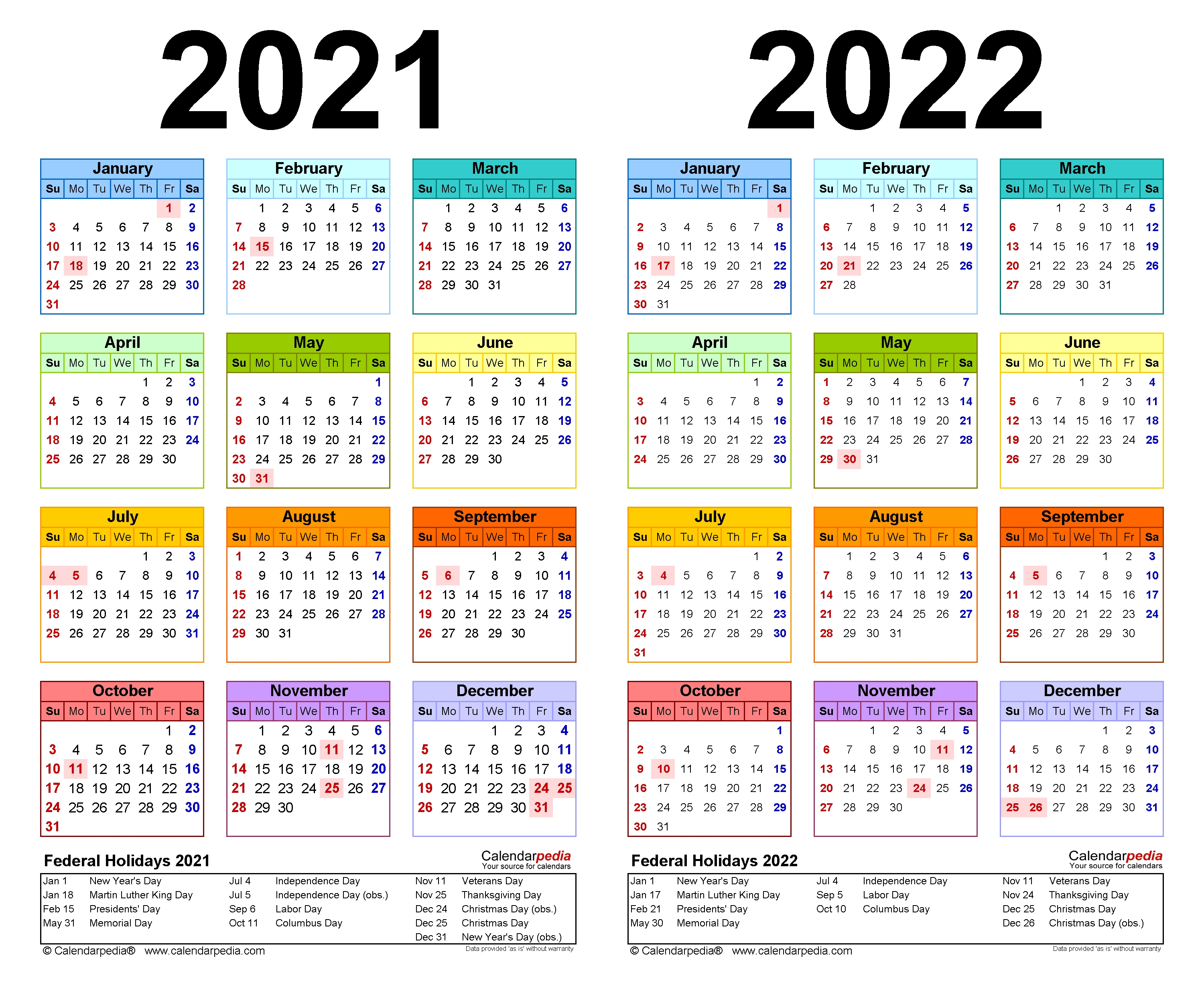 2021-2022 Two Year Calendar - Free Printable Pdf Templates within Small Yearly Calendars For 2021 And 2022