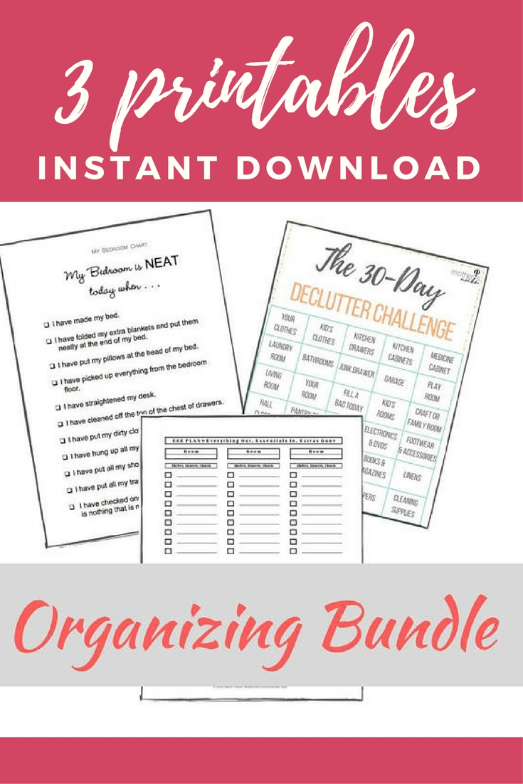 3 Printable Downloads To Help Organize Your Home! 30 Day for 30 Day Declutter Challenge Printable