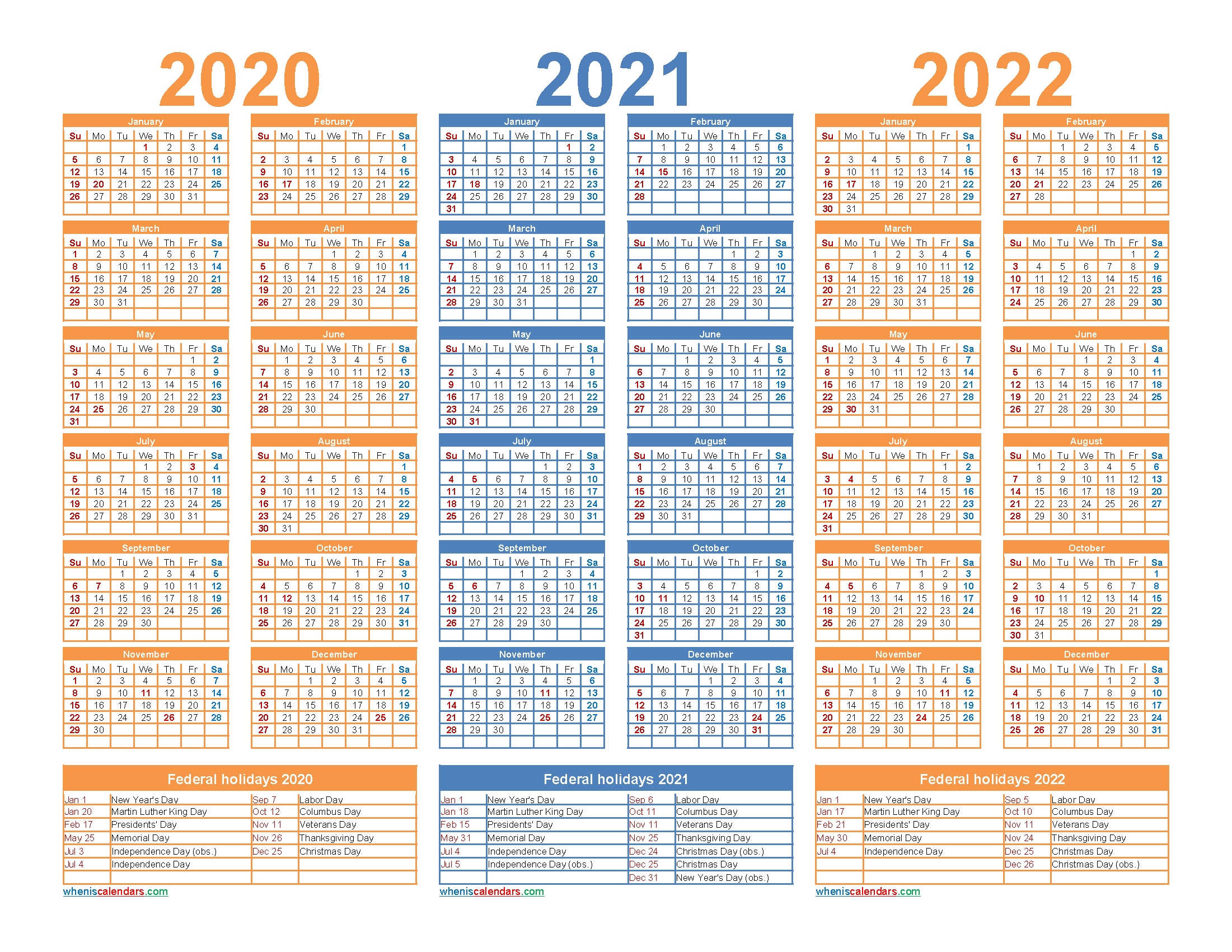 3 Year Calendar 2020 To 2022 Printable | Free Printable 2020 in 2020 2021 2022 2023 Calendar Printable One Page