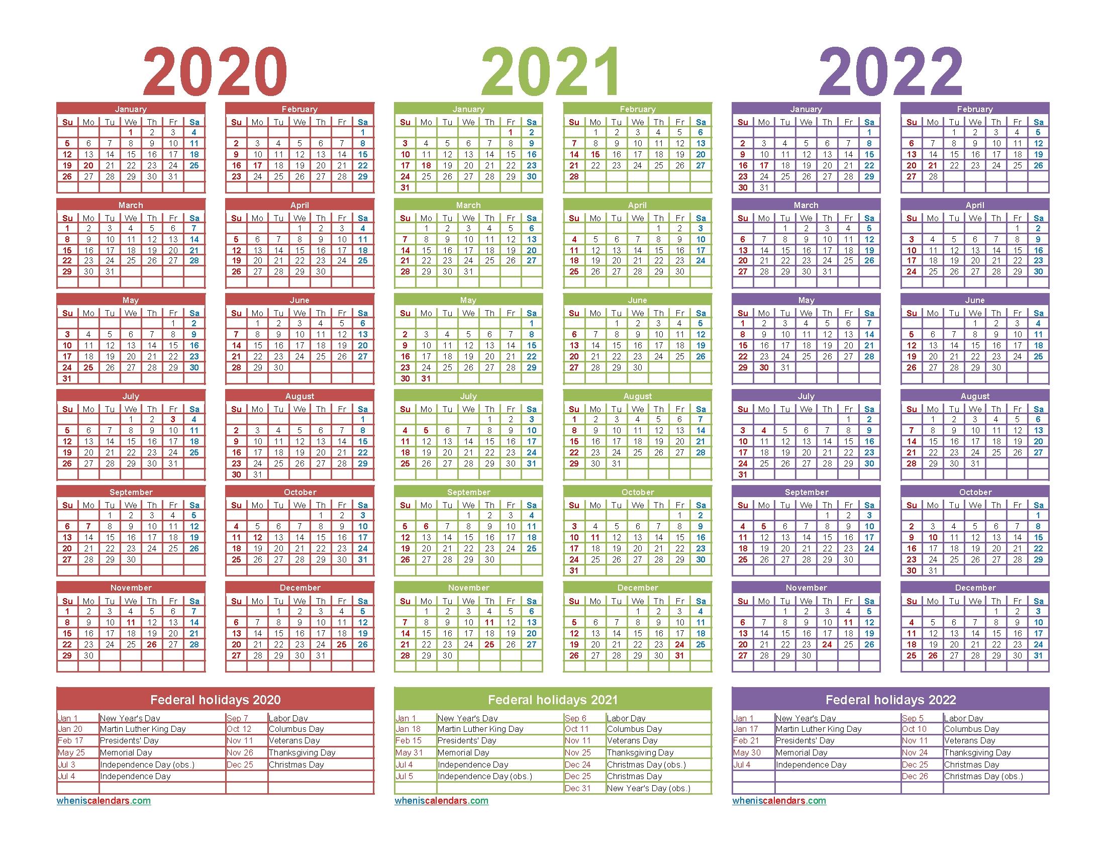 3 Year Calendar 2020 To 2022 Printable | Free Printable 2020 regarding 2020 2021 2022 2023 Calendar Printable One Page