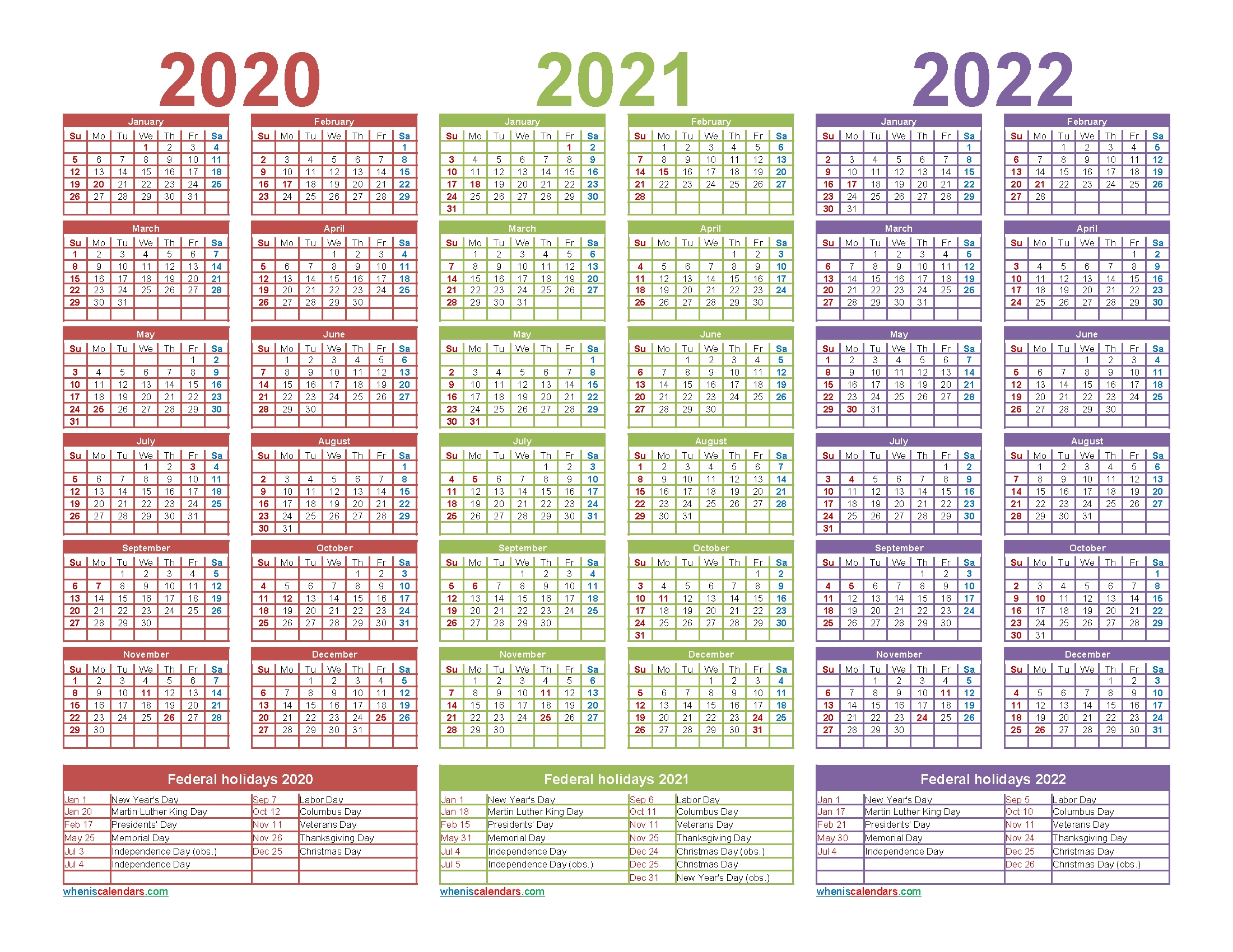 3 Year Calendar 2020 To 2022 Printable | Free Printable 2020 with Calendars In 2020 2021 And 2022
