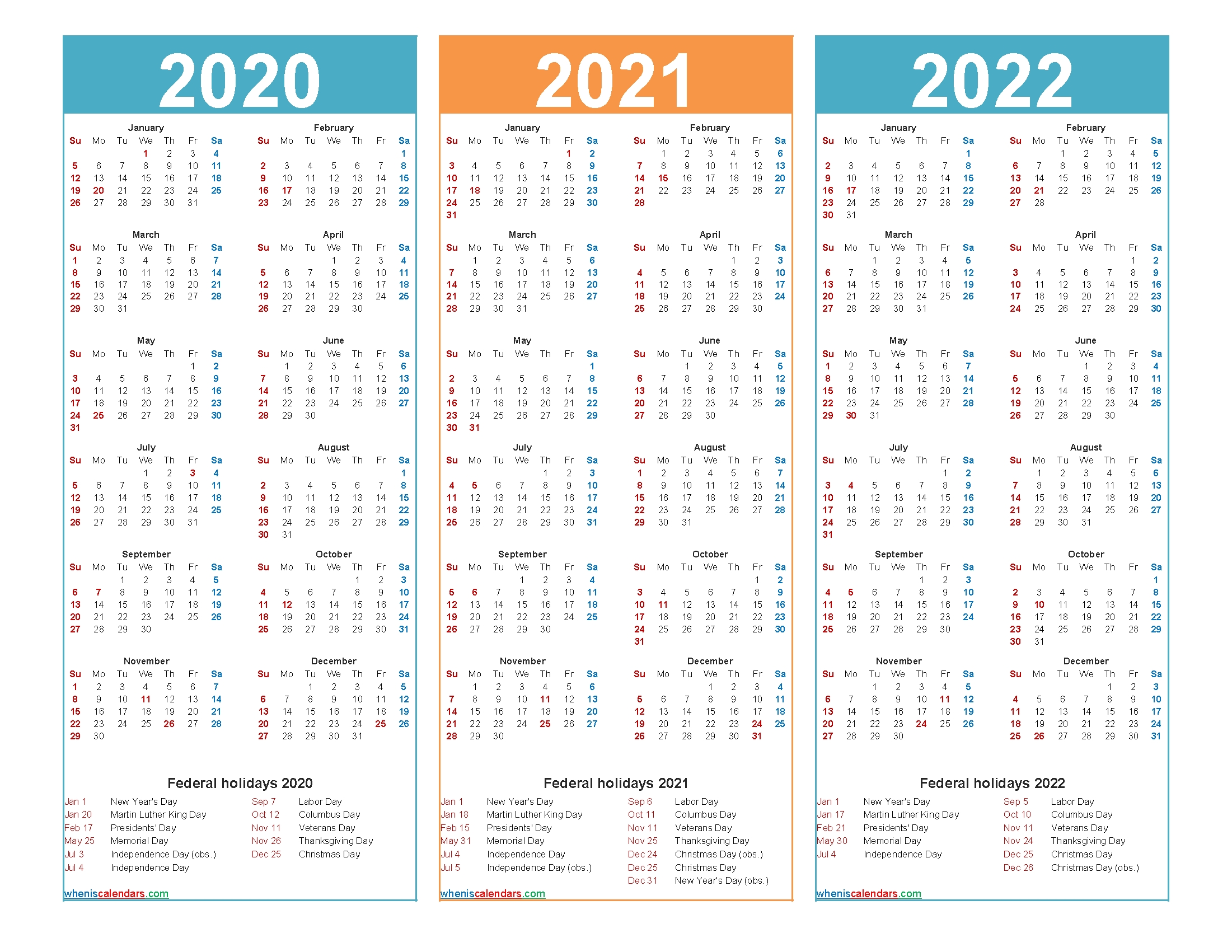 3 Year Calendar 2020 To 2022 Printable | Free Printable 2020 with regard to 2020 2021 2022 2023 Calendar Printable One Page