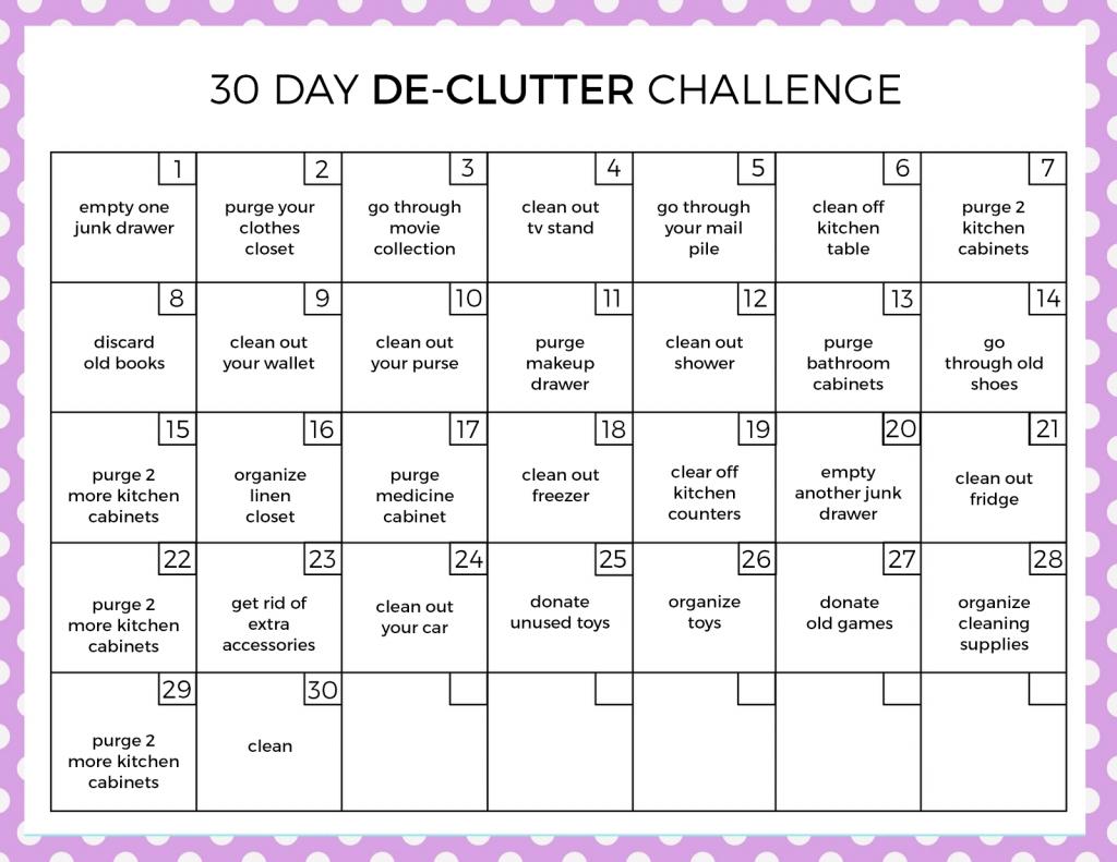 30 Day Declutter Challenge | Declutter Challenge, Declutter within 30 Day Declutter Challenge Printable