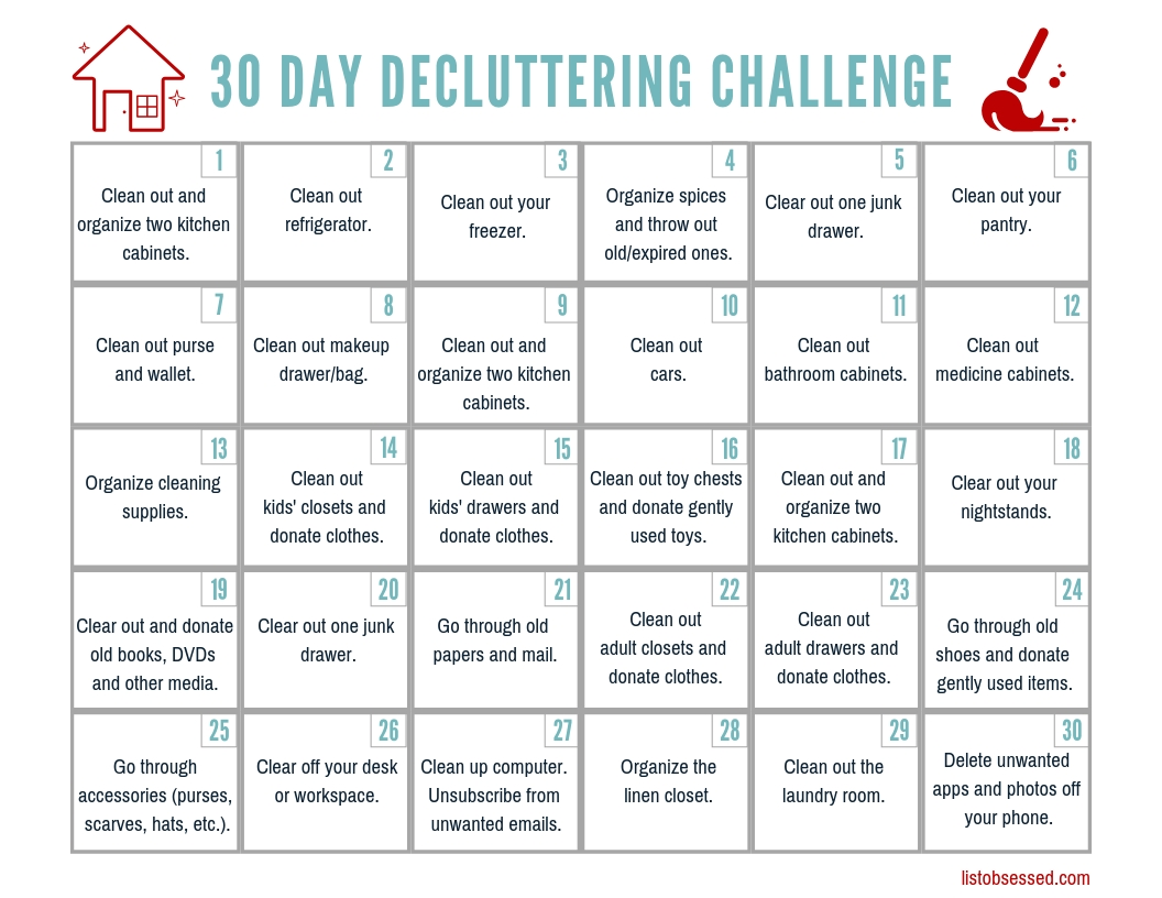 30 Day Declutter Challenge - Free Printable Guide - List with 30 Day Declutter Challenge Printable