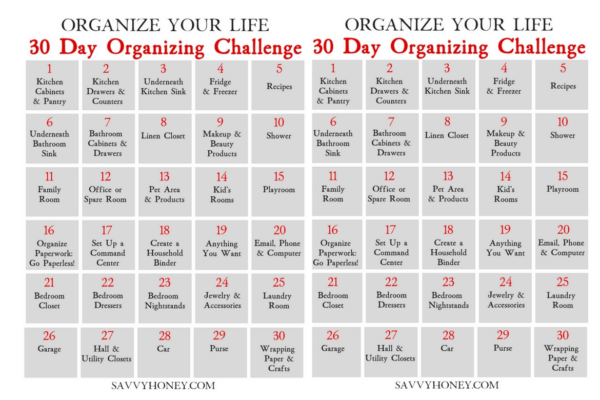 30 Day Organizing Challenge To Declutter Your House & Life with regard to 30 Day Declutter Challenge Printable