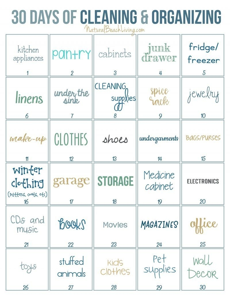 30 Days Of Cleaning And Organizing Challenge - Printable regarding 30 Day Declutter Challenge Printable
