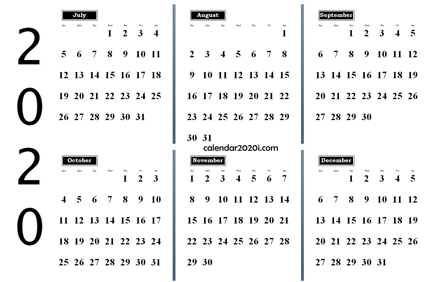 6 Months 2020 Half Year Printable Calendar | Calendar 2020 within Free Printablehalf Page Calendars 2020