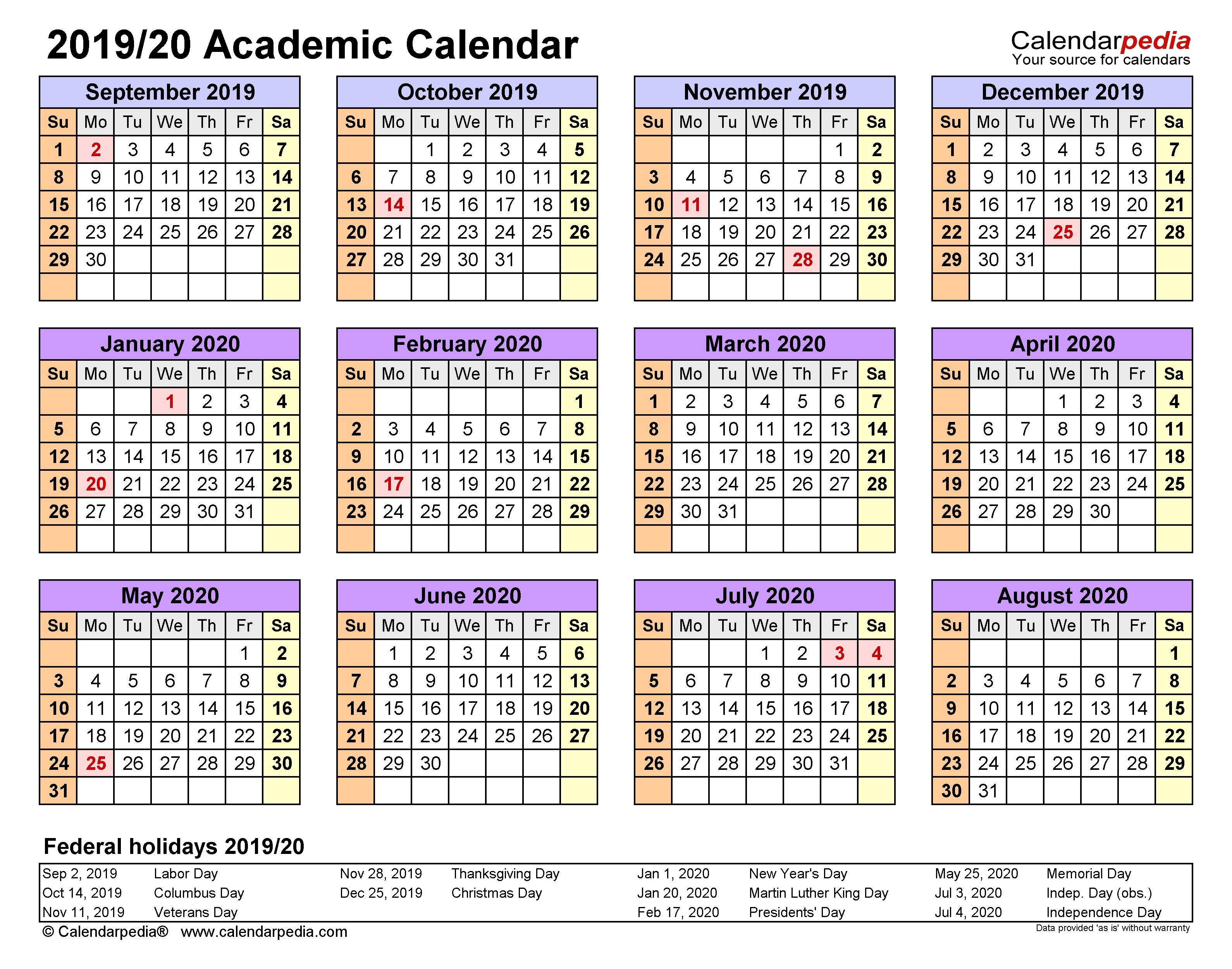 Academic Calendars 2019/2020 - Free Printable Word Templates with regard to Free Printable Academic Calendar 2019-2020