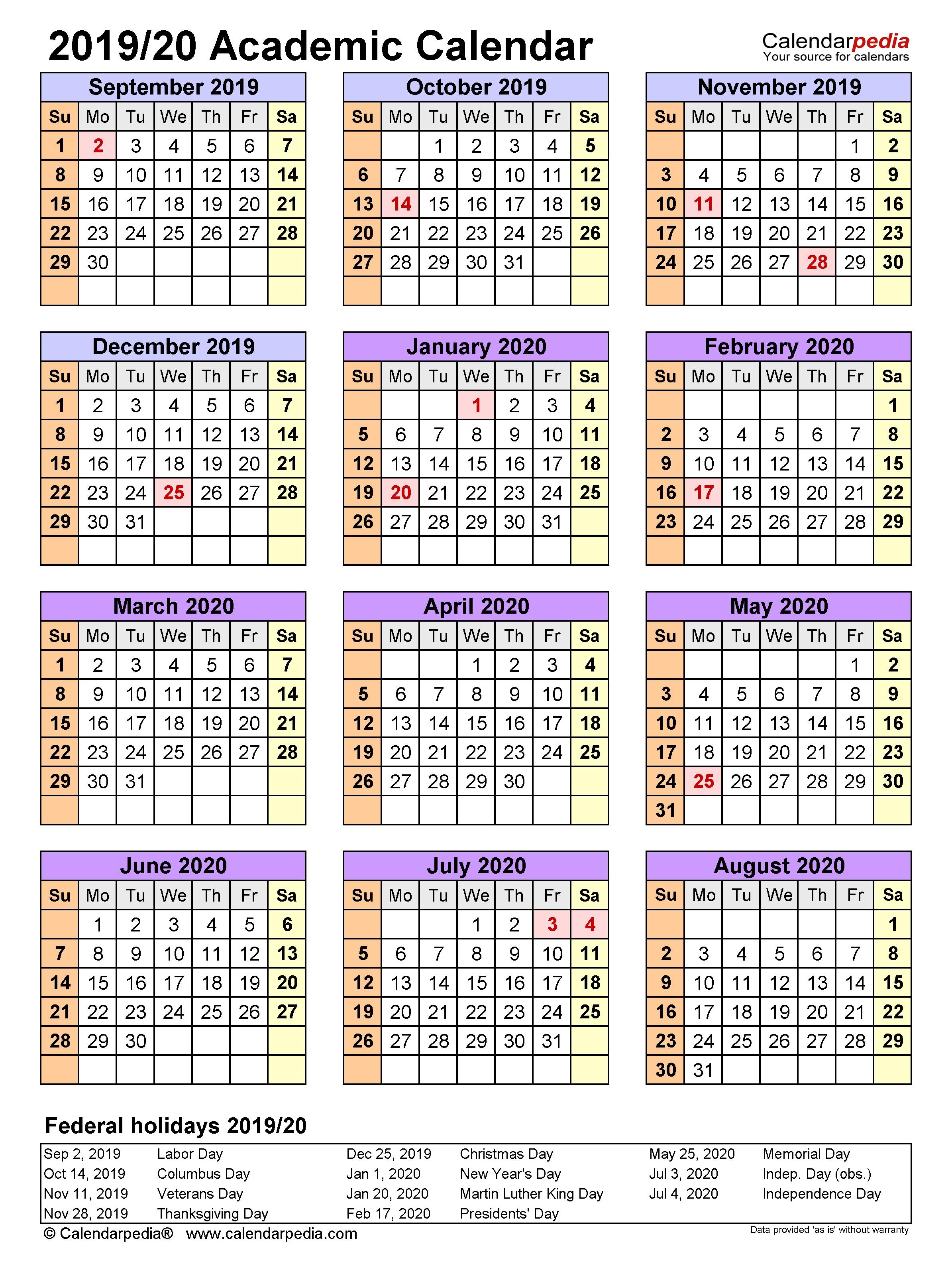 Academic Calendars 2019/2020 - Free Printable Word Templates with regard to U Of T 2020-2021 Academic Calendar