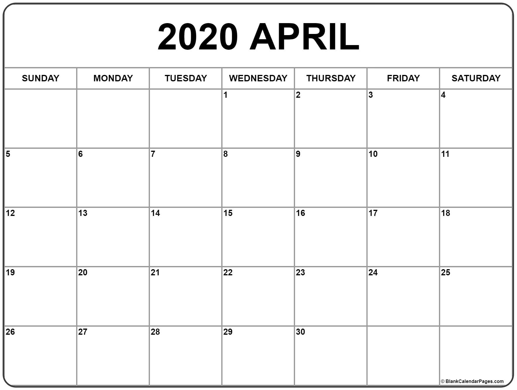 April 2020 Calendar | Free Printable Monthly Calendars intended for Free Printable Monthly 2020 Calendar