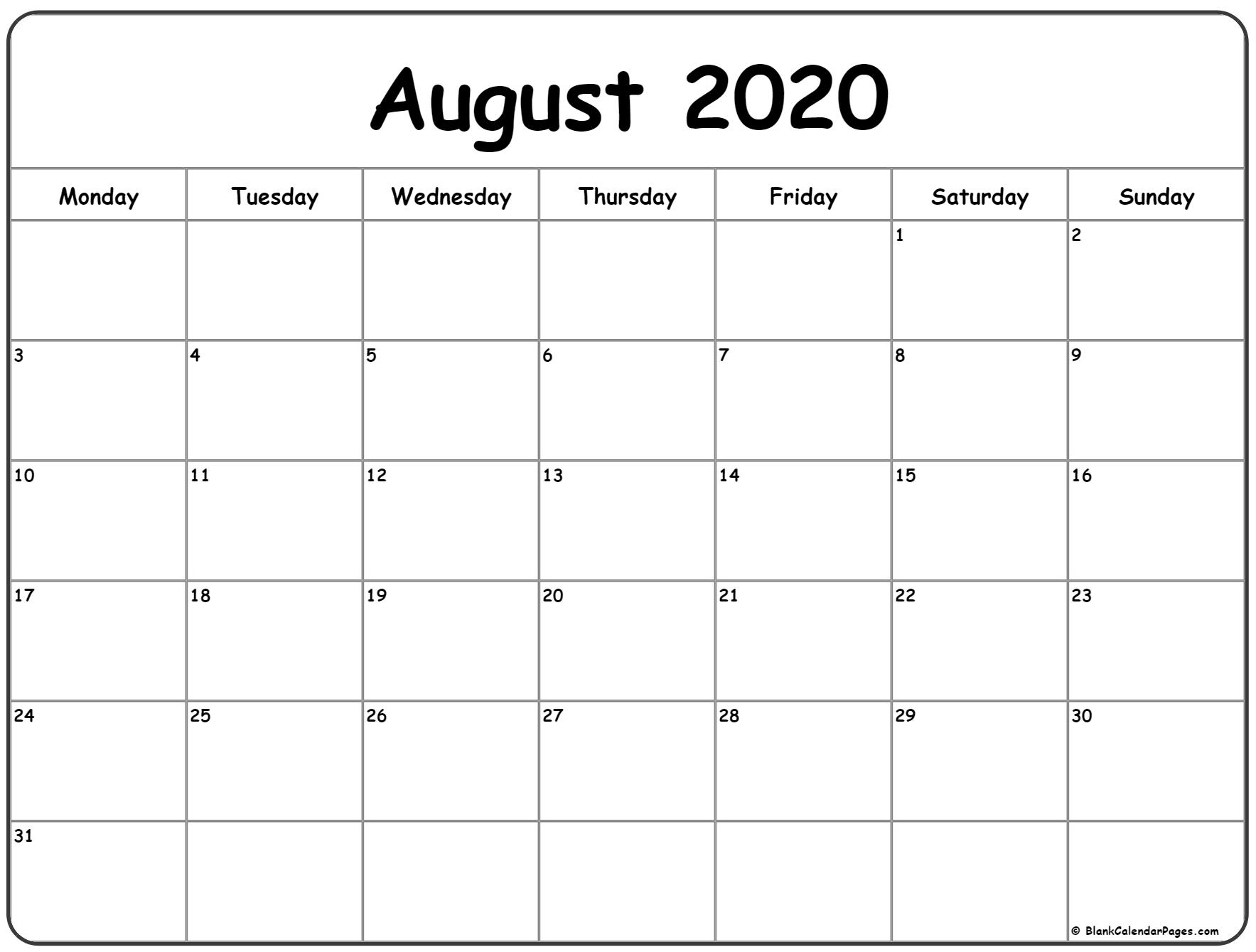 August 2020 Monday Calendar | Monday To Sunday pertaining to 2020 Calendar Starting With Mondays