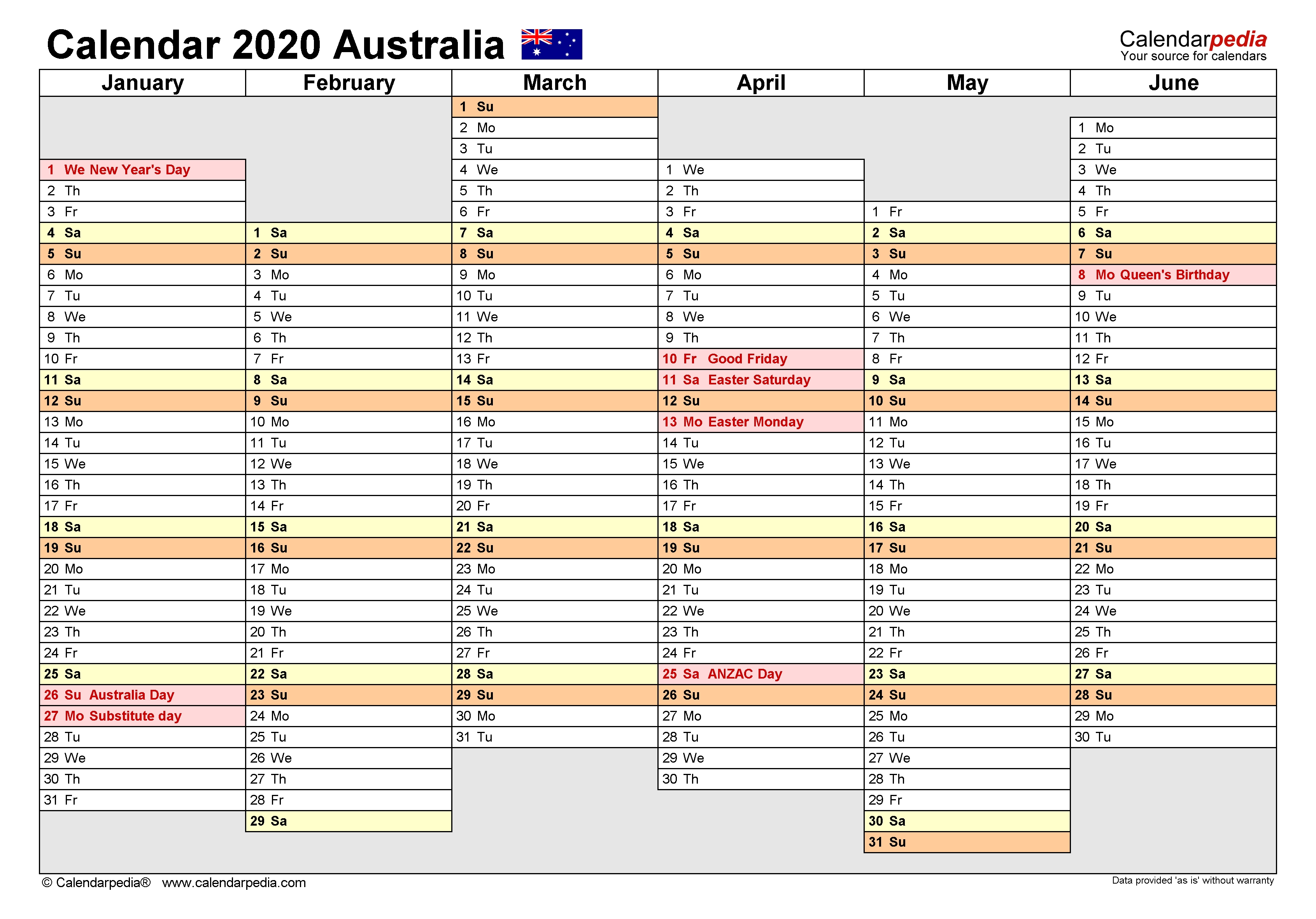 Australia Calendar 2020 - Free Printable Pdf Templates regarding One Week Per Page 2020