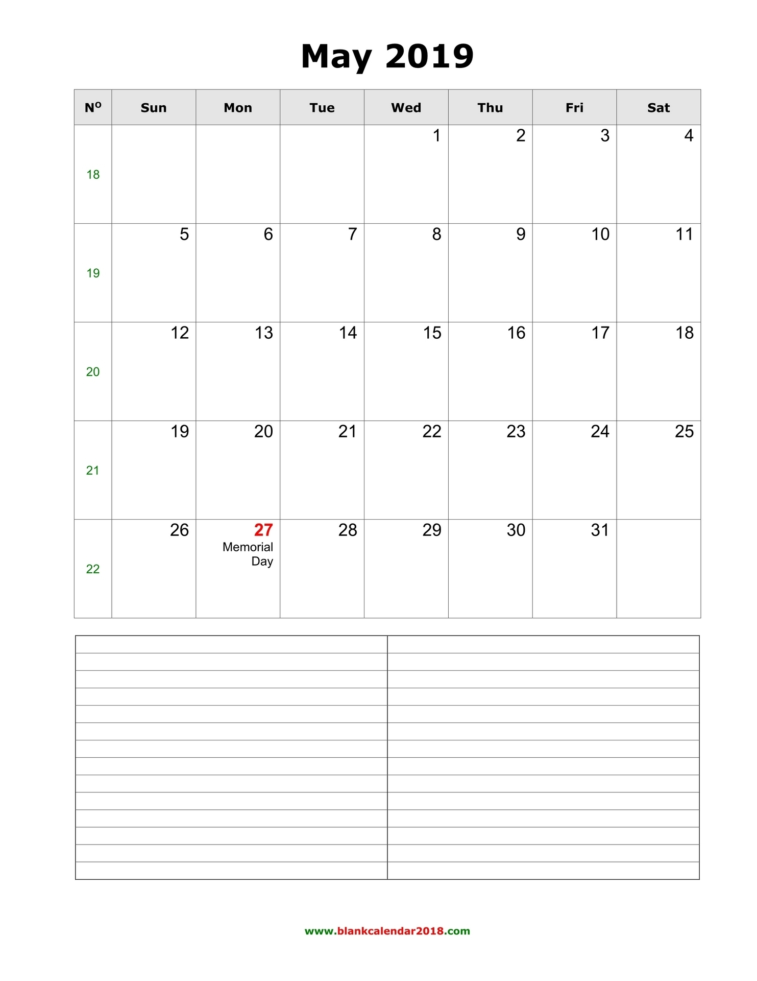 Blank Calendar For May 2019 in 2019 Calendar Downloadable Free Word