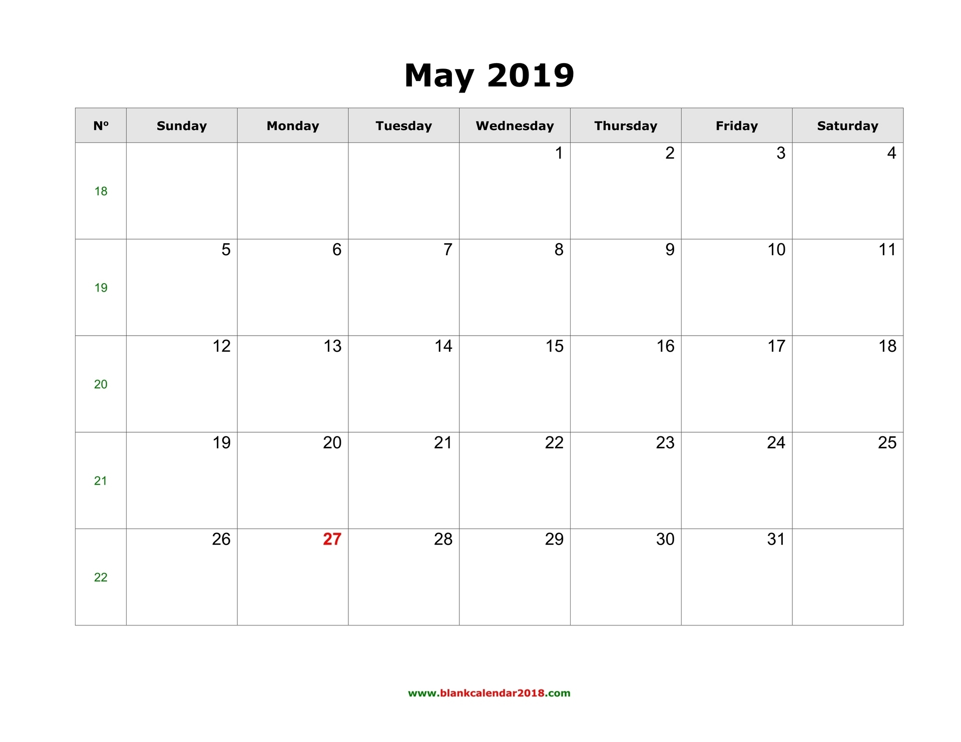 Blank Calendar For May 2019 intended for 2019 Calendar Downloadable Free Word