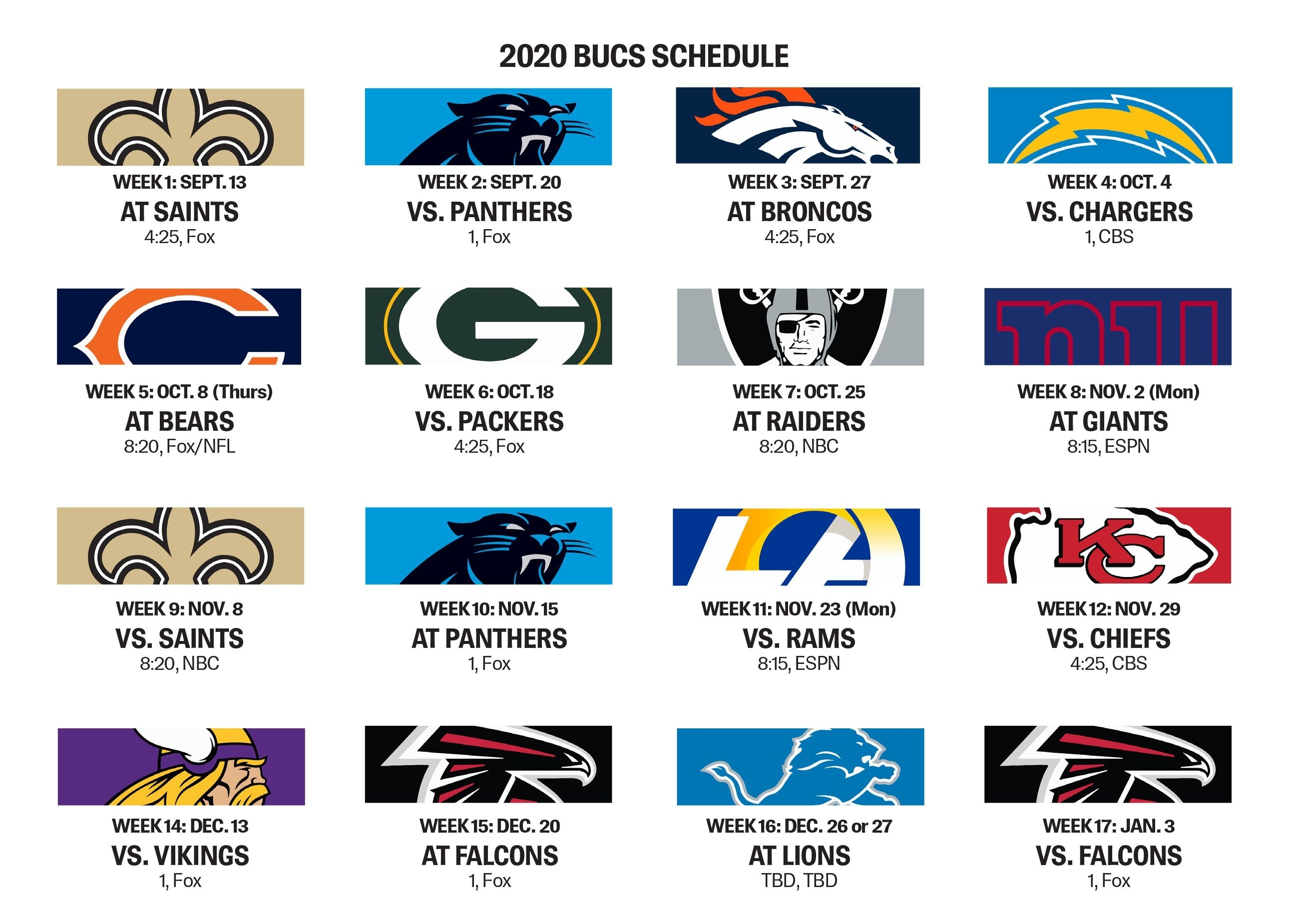 Bucs Open With Saints, Have Five Prime-Time Games Slated with regard to Free Printable Nfl Schedule 2019 2020