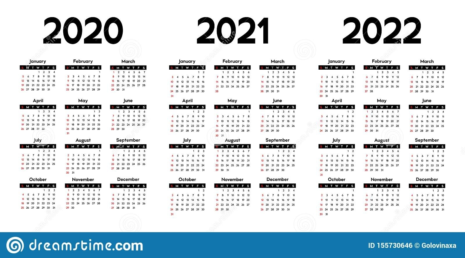 Calendar 2020, 2021 And 2022, Week Starts On Sunday Stock throughout Calendars In 2020 2021 And 2022