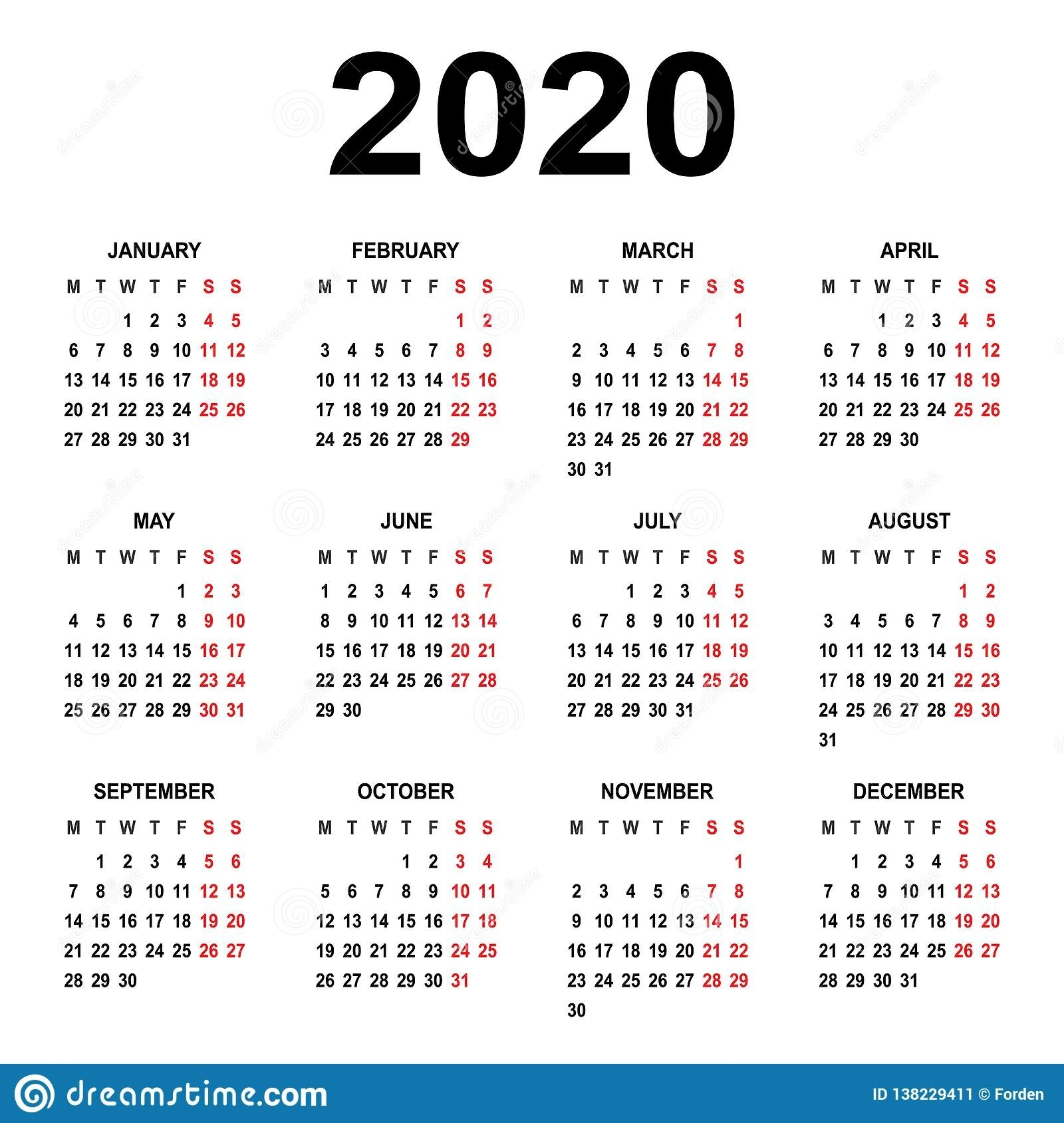 Calendar 2020. Week Starts On Monday. Basic Grid Stock for 2020 Calendar That Starts With Monday
