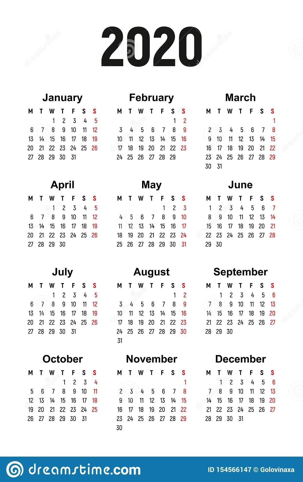 Calendar 2020, Week Starts On Monday Stock Vector regarding Free 2020 Calendar Starting With Monday