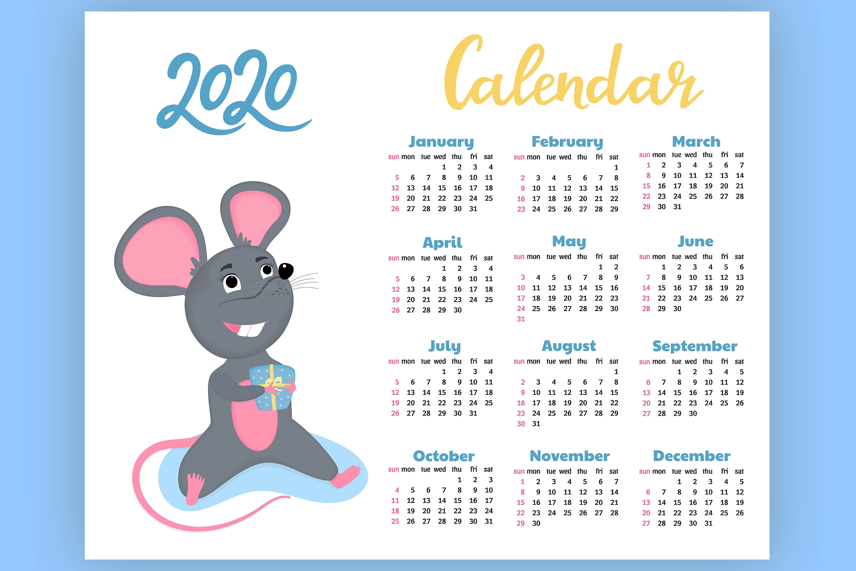 Calendar For 2020 From Sunday To Saturday. Year Of The Rat inside Calendar Sunday To Saturday 2020