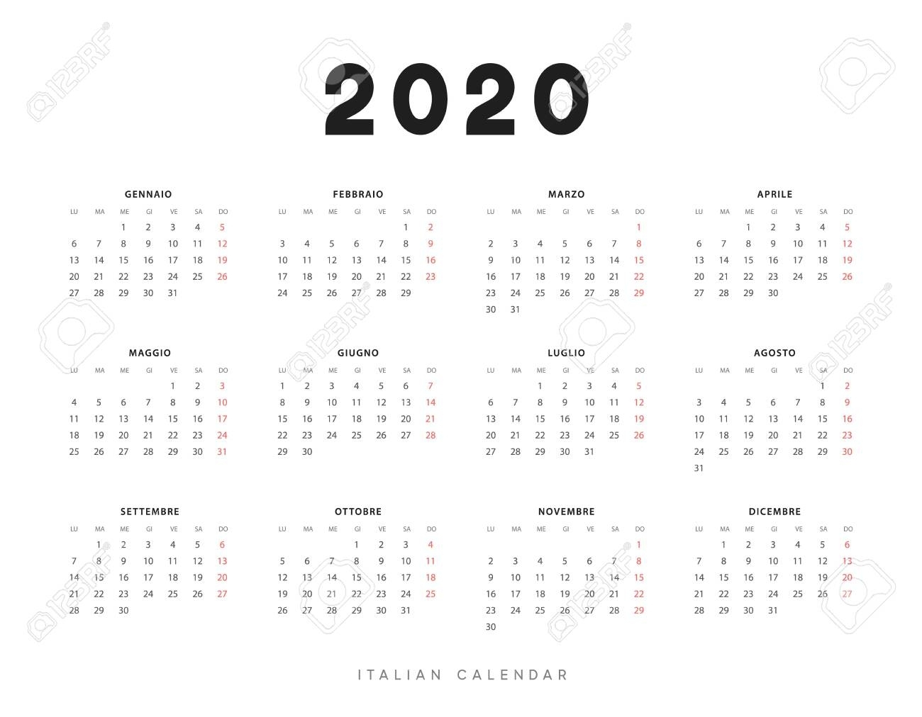 Calendar For 2020 Year. Week Starts On Monday. Planner For 12.. for Free 2020 Calendar Monday Start