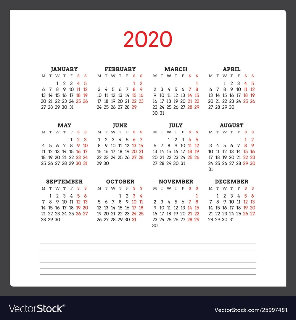 Calendar For 2020 Year Week Starts On Monday within 2020 Calendar With Monday Start Week