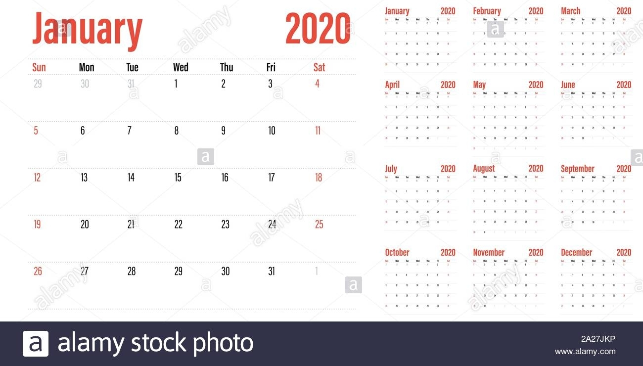 Calendar Planner 2020 Template Vector Illustration All 12 throughout Calendar Sunday To Saturday 2020