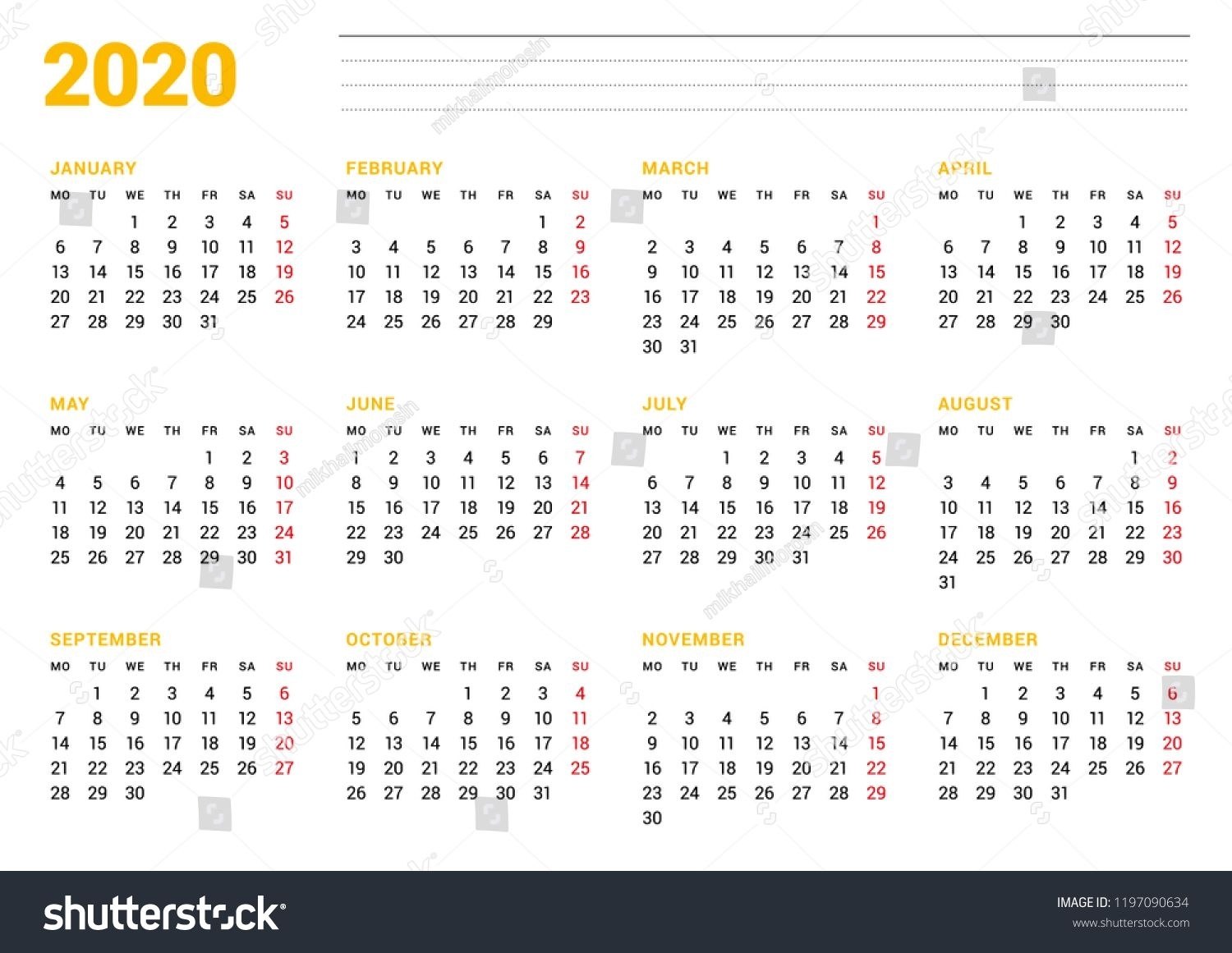 Calendar Template For 2020 Year. Stationery Design. Week in 2020 Calendar With Monday Start Week