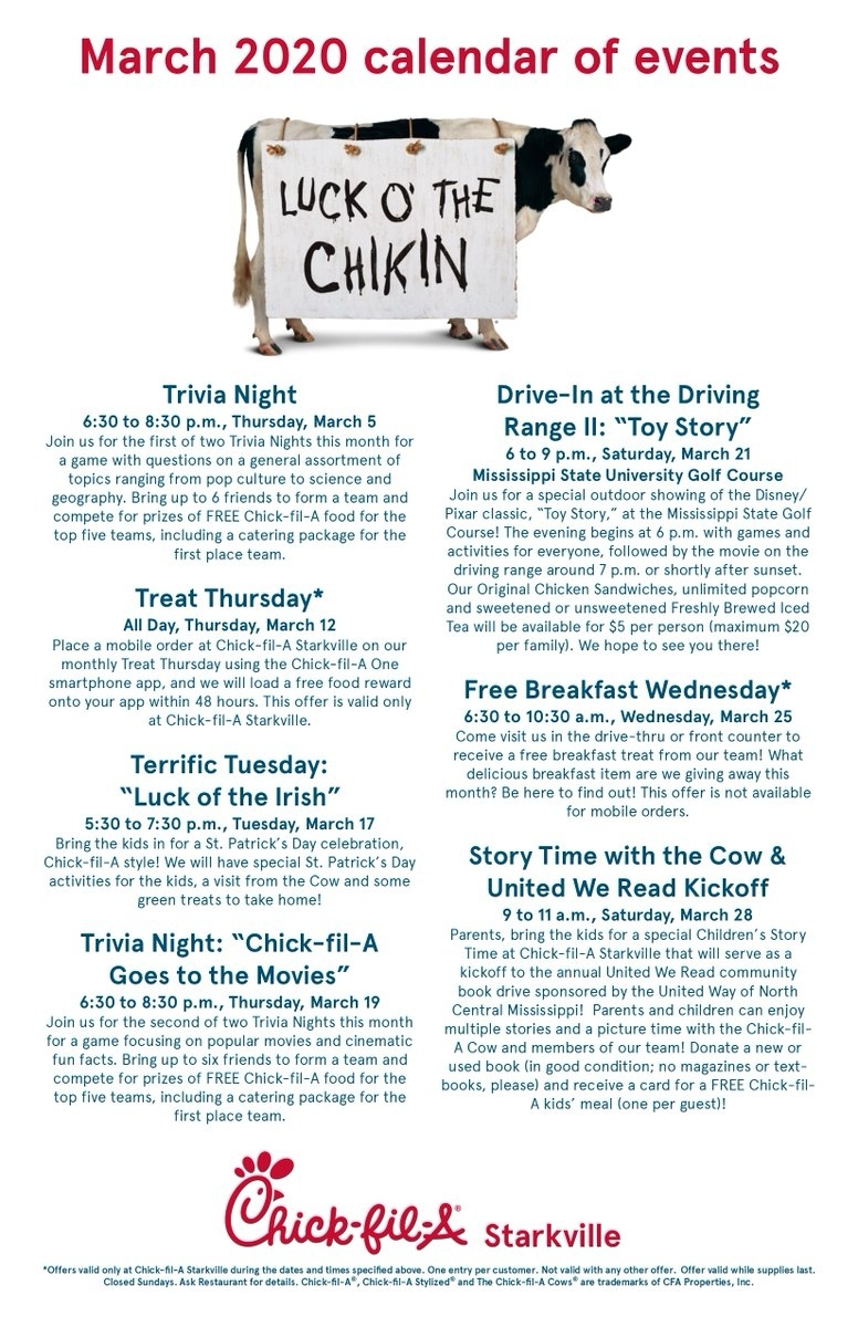 "Chick-Fil-A Starkville On Twitter: ""happy March! Here Is Our inside Chick Fil A Monthly Calendar 2020"