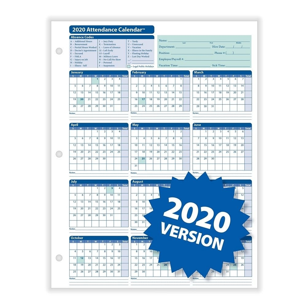 "Complyright 2020 Attendance Calendar, White, 8-1/2"" X 11"" - 50 Per Pack inside Employeee Attendance Calendar For 2020"